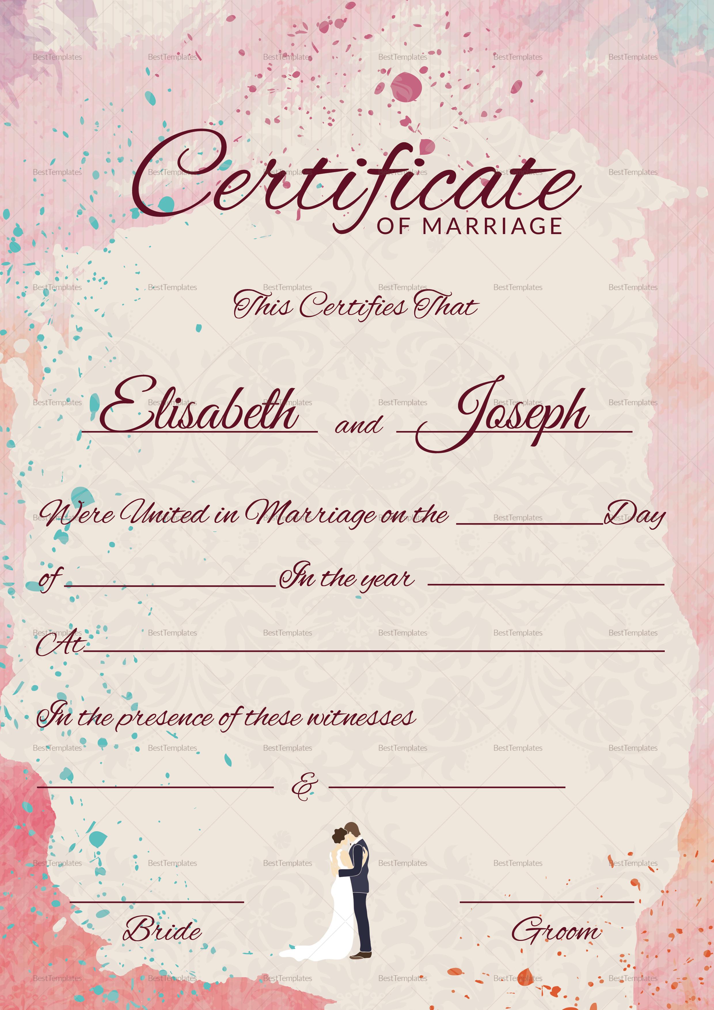Marriage Certificate Template Free Mandegarfo