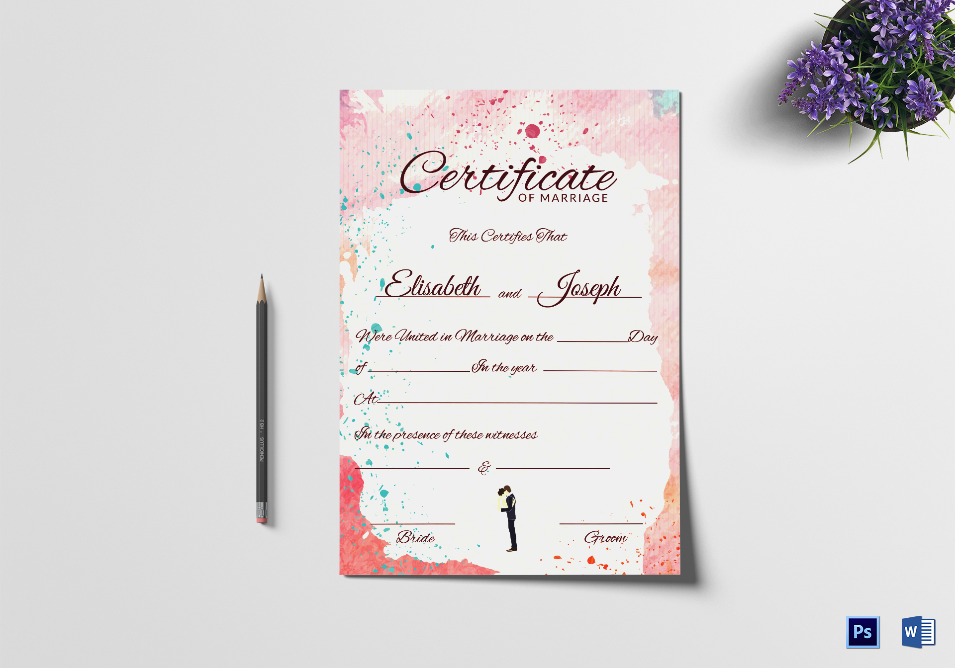 Christian marriage certificate design template in psd word traditional marriage certificate template alramifo Image collections