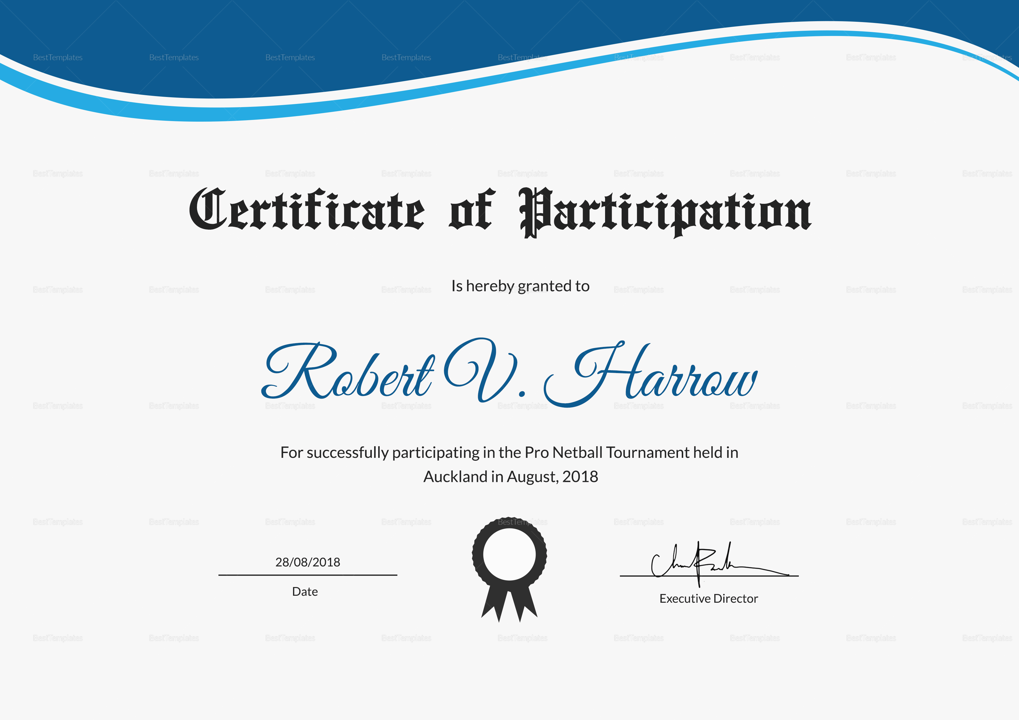 netball participation certificate design template in psd word
