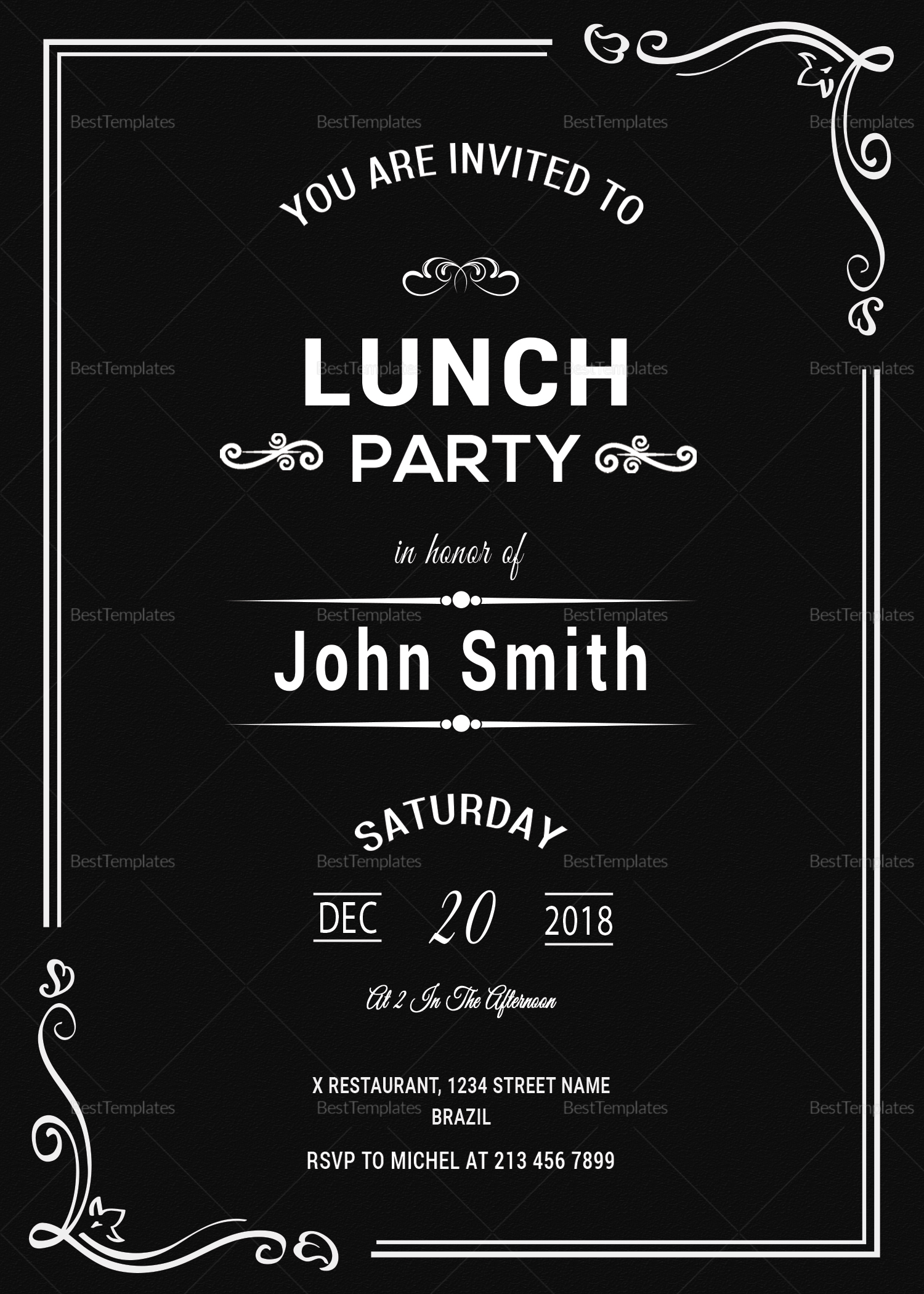 chalkboard rehearsal lunch invitation design template in psd word