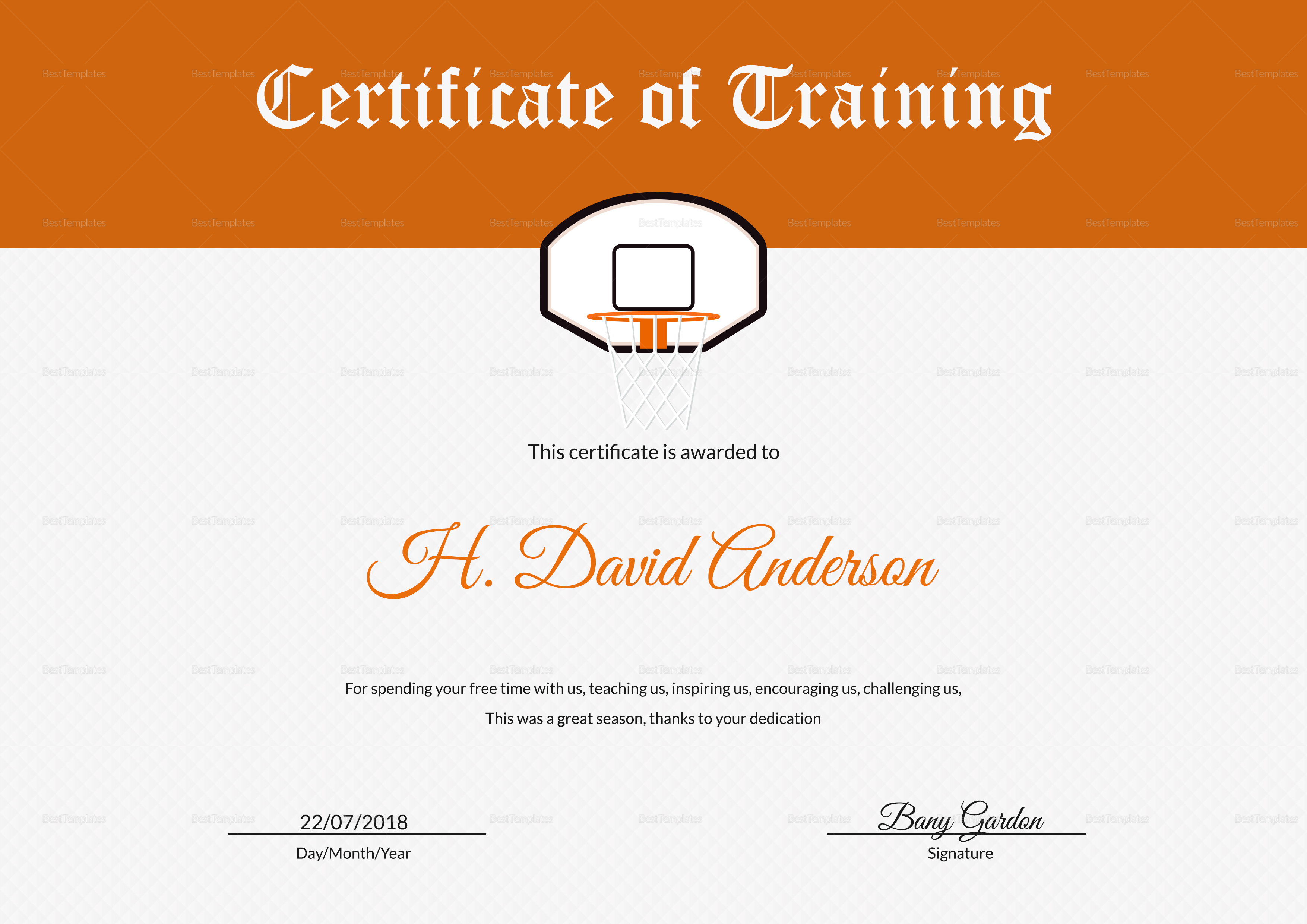 Netball Training Certificate Template