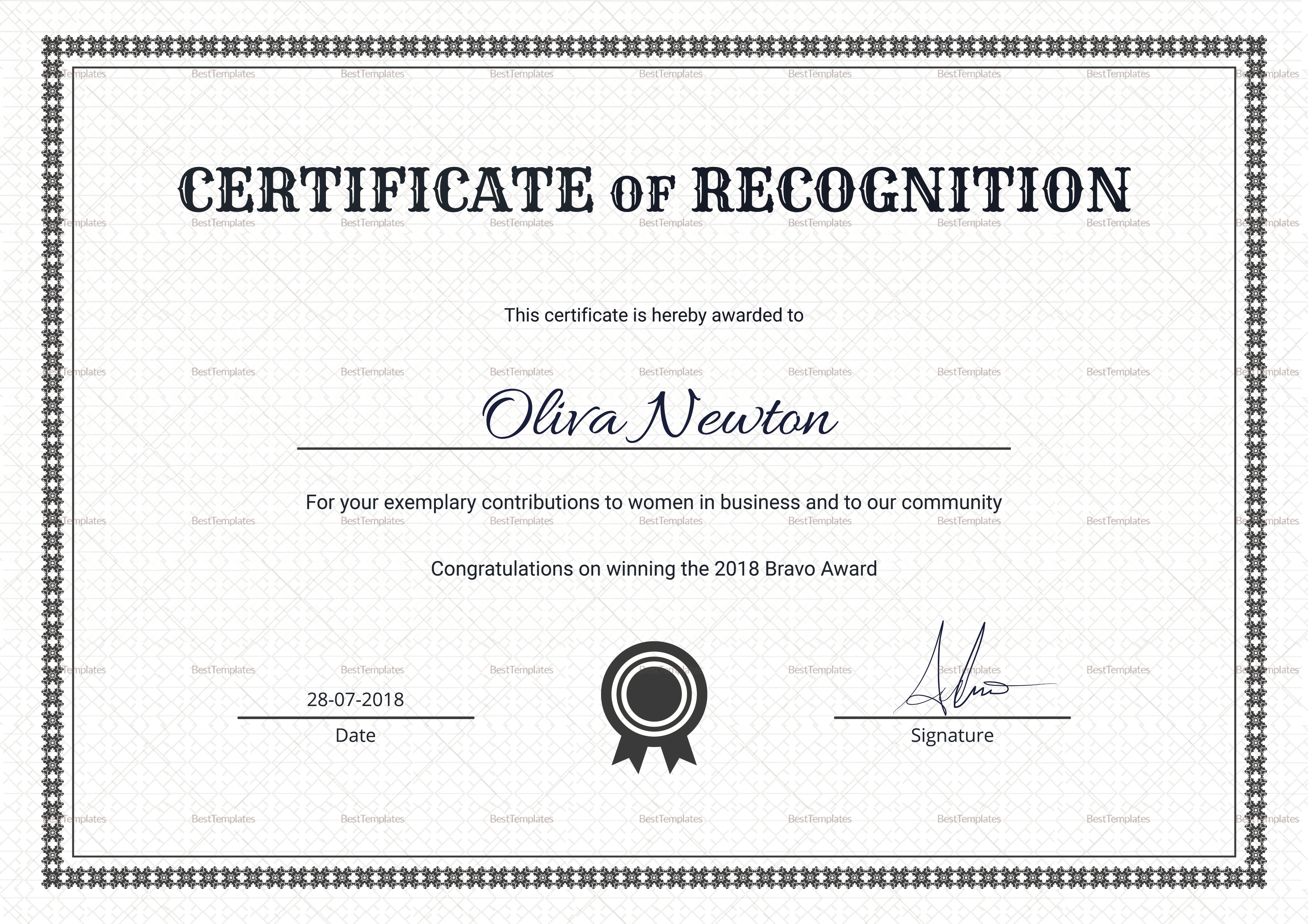 simple certificate of recognition design template in psd word