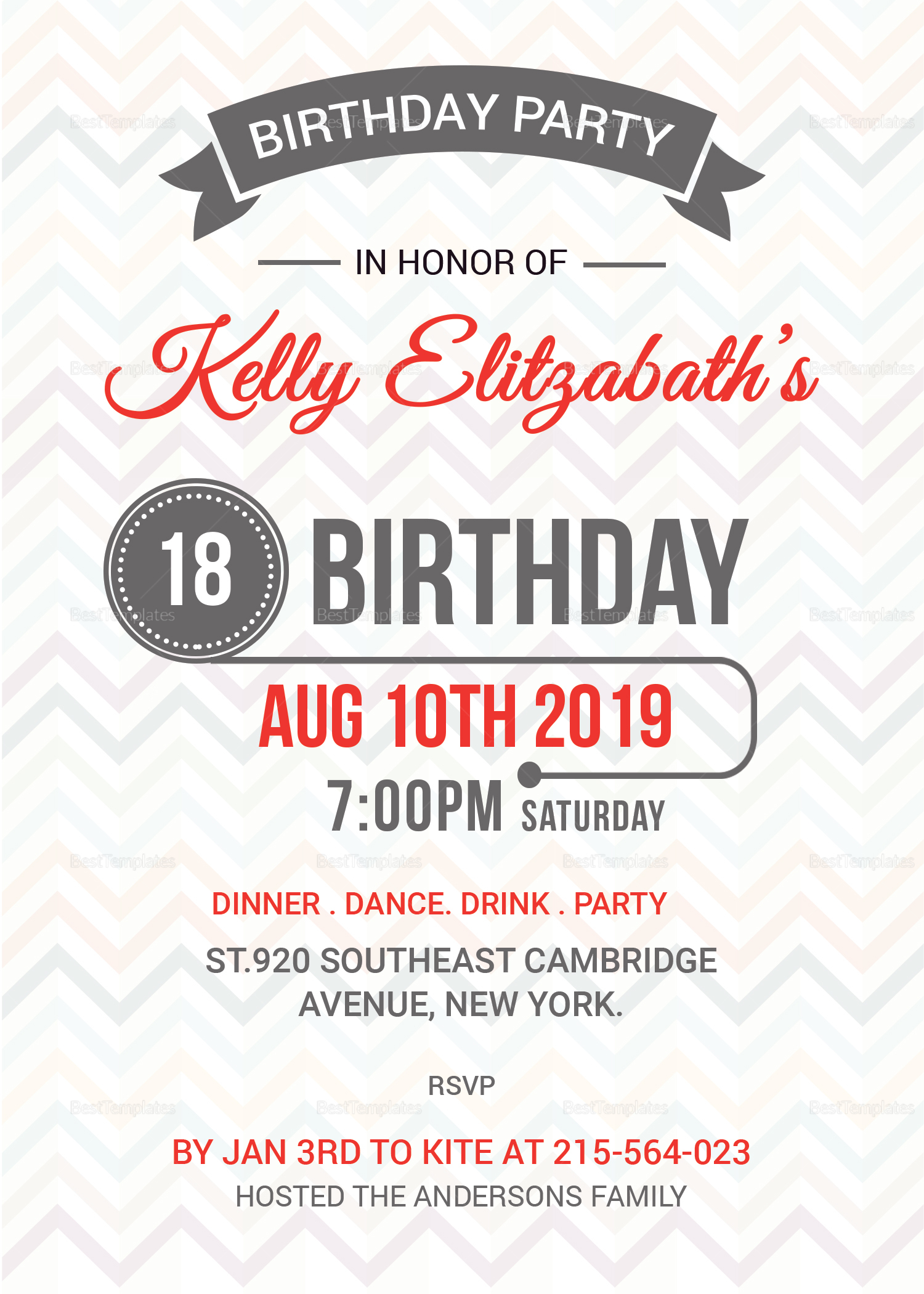 Retro birthday party invitation card design template in psd word retro birthday party invitation card template filmwisefo