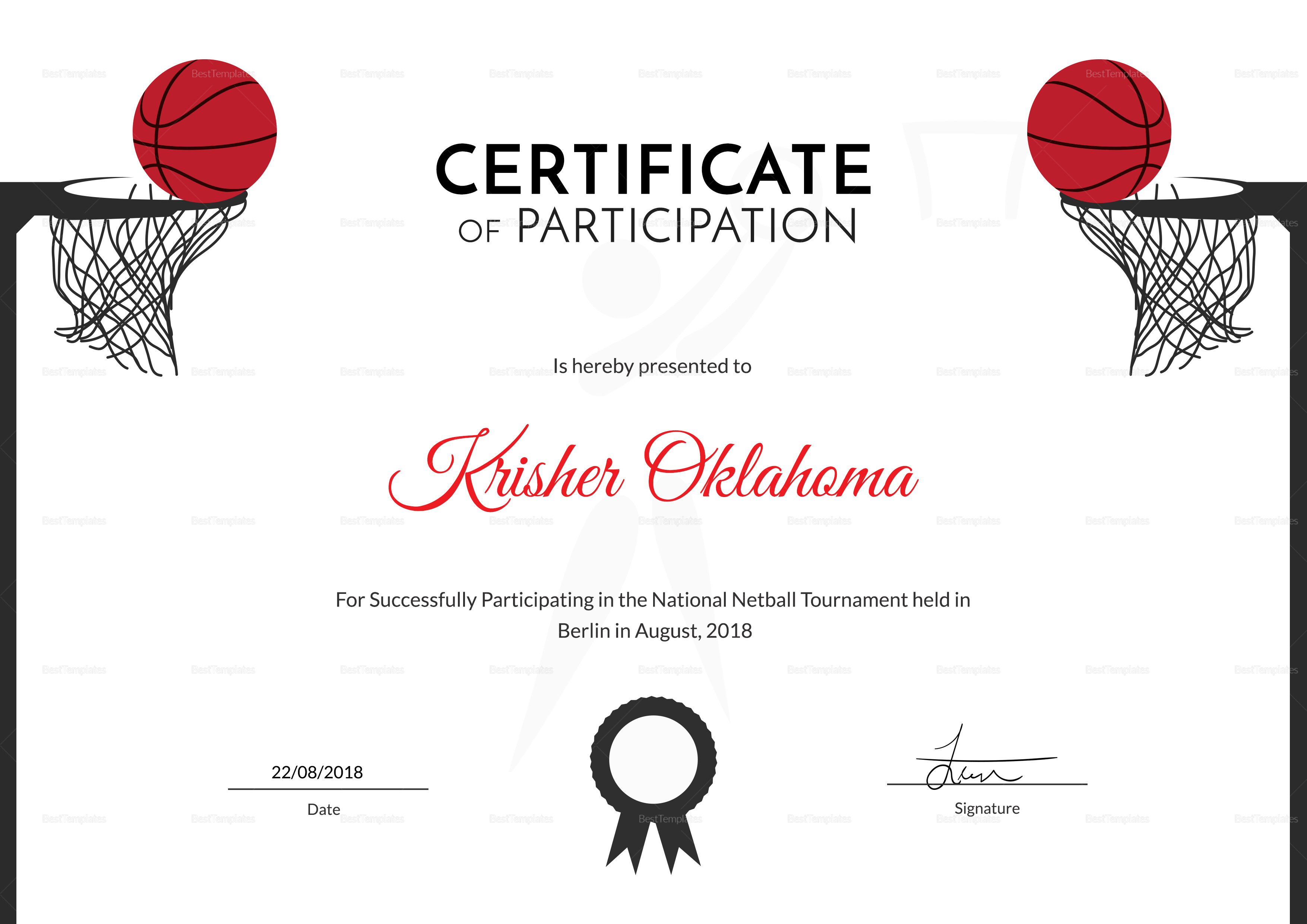 Netball sports certificate design template in psd word netball sports certificate template netball sports certificate design template 1betcityfo Choice Image