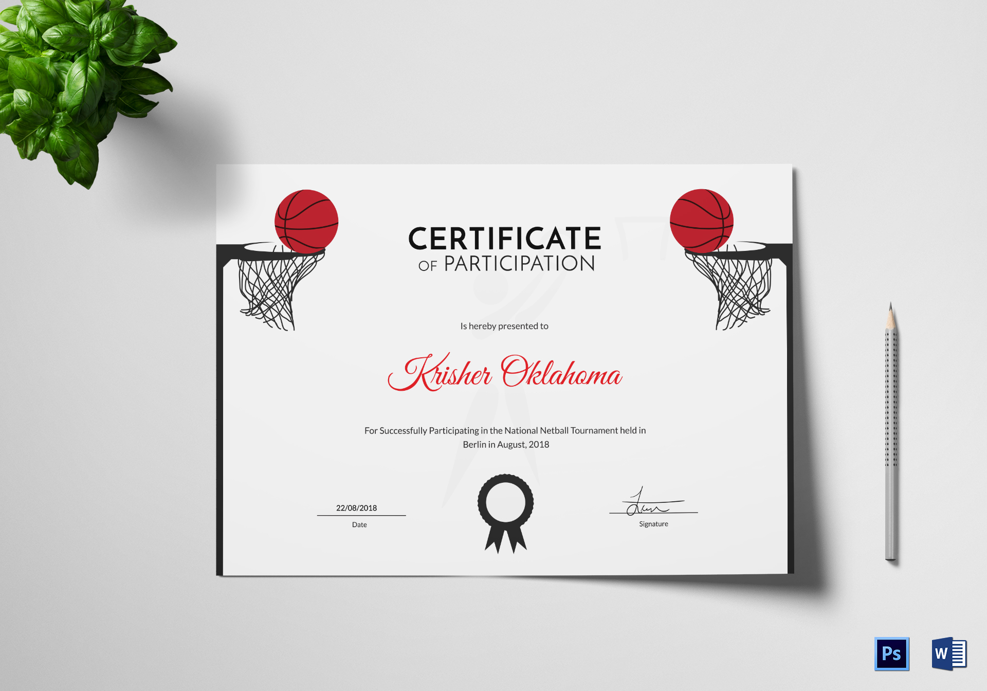 netball sports certificate design template in psd word