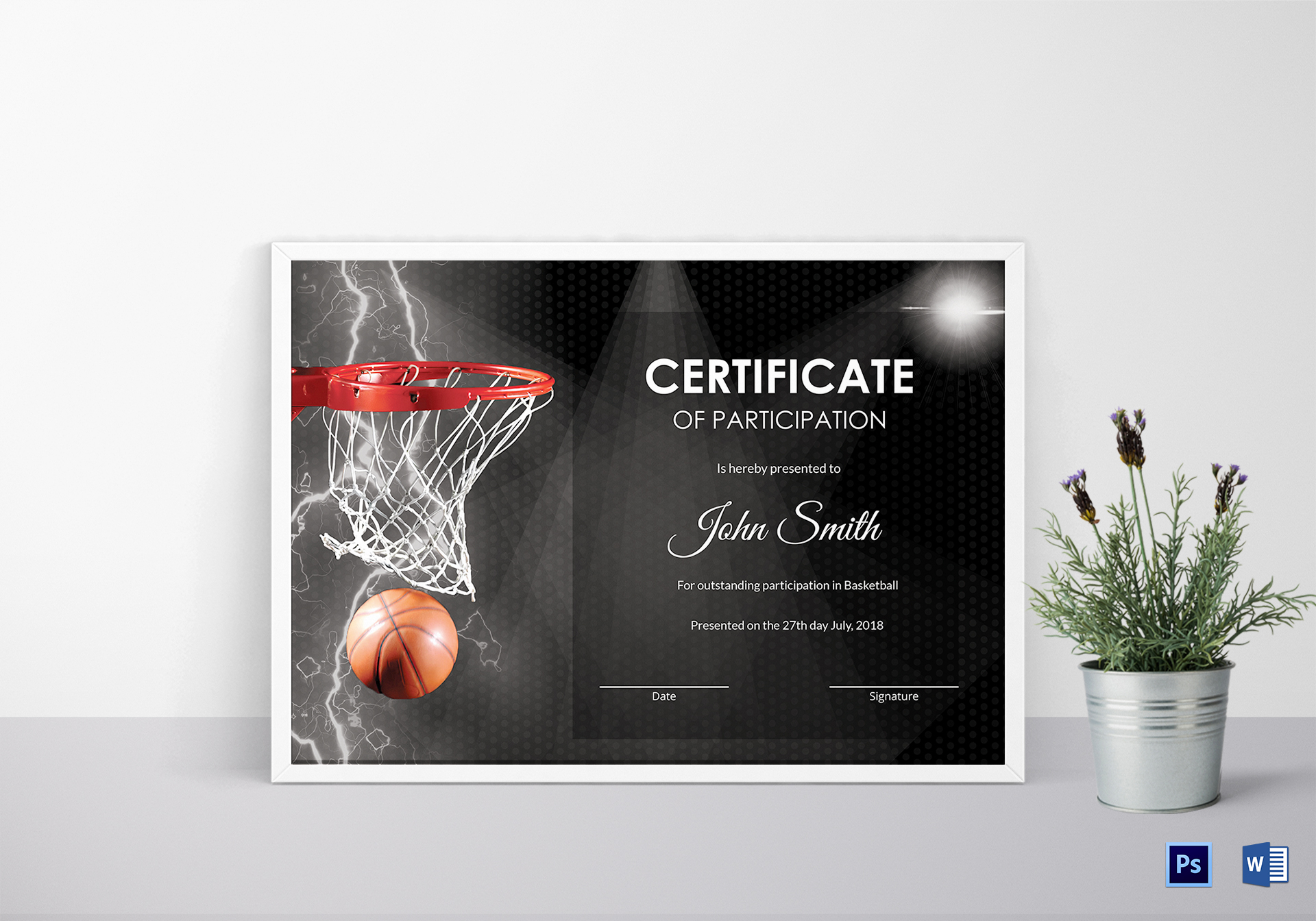 Basketball participation certificate design template in psd word basketball participation certificate basketball participation certificate template yadclub Image collections