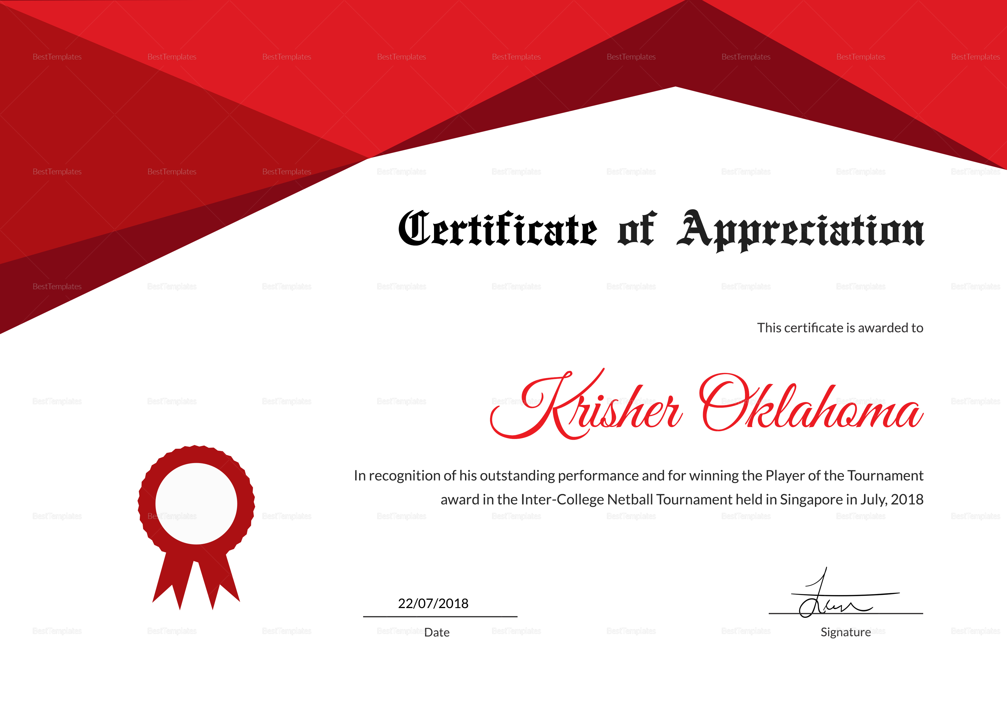 Netball certificate template image collections templates example netball appreciation certificate design template in psd word netball appreciation certificate template netball appreciation certificate design yadclub Images