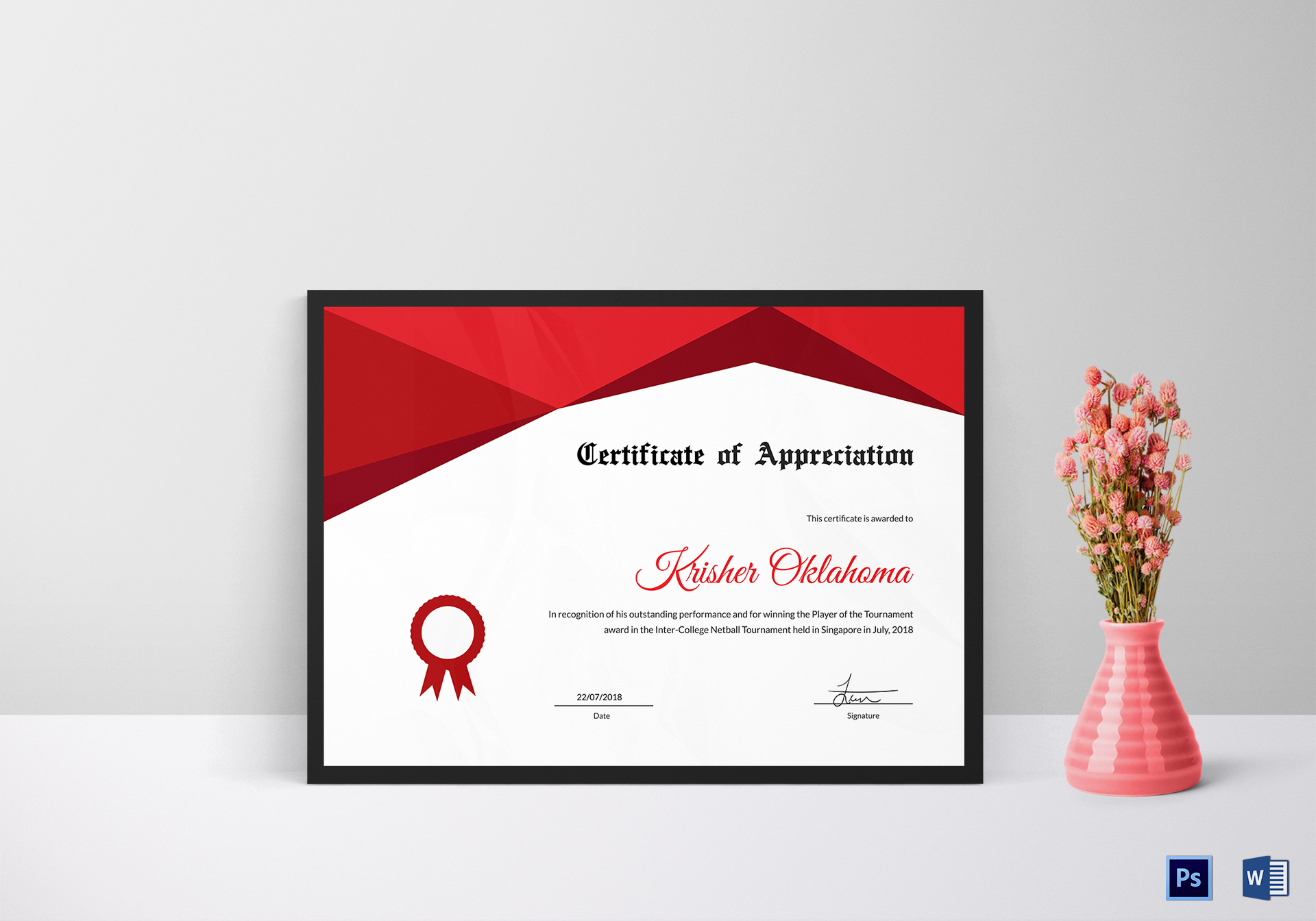 Netball Appreciation Certificate Design Template In Psd Word