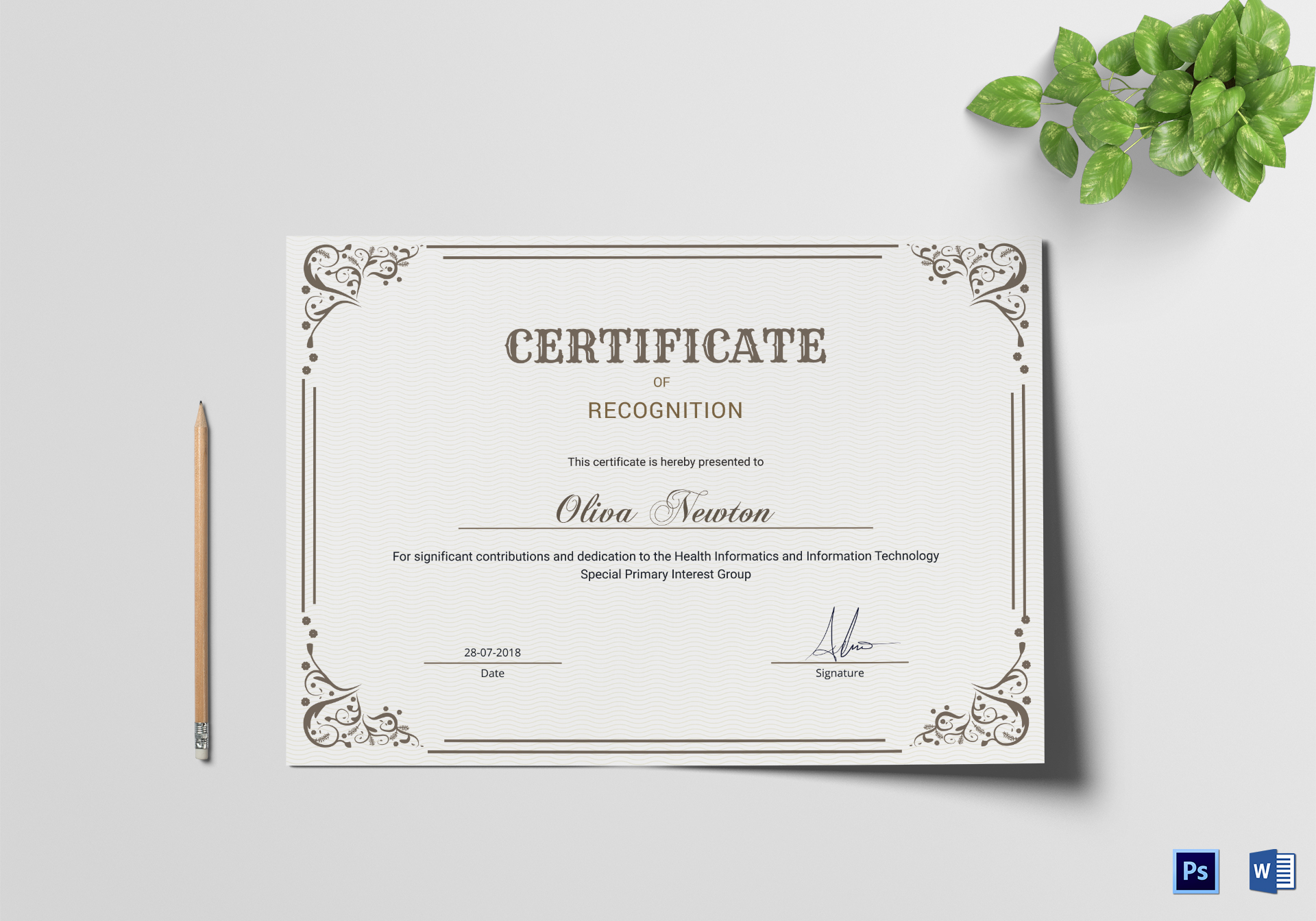 Emergency Manager Recognition Certificate Design Template In Psd Word
