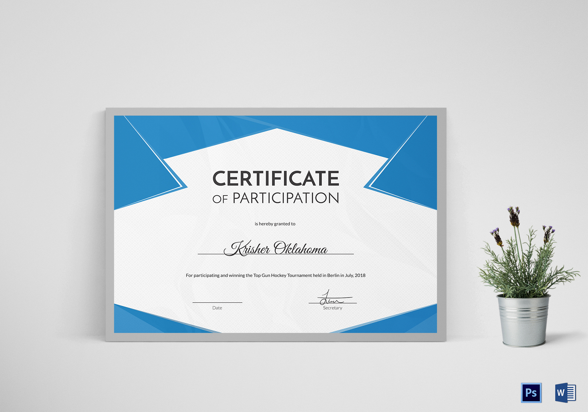 Hockey First Place Certificate Design Template In Psd Word