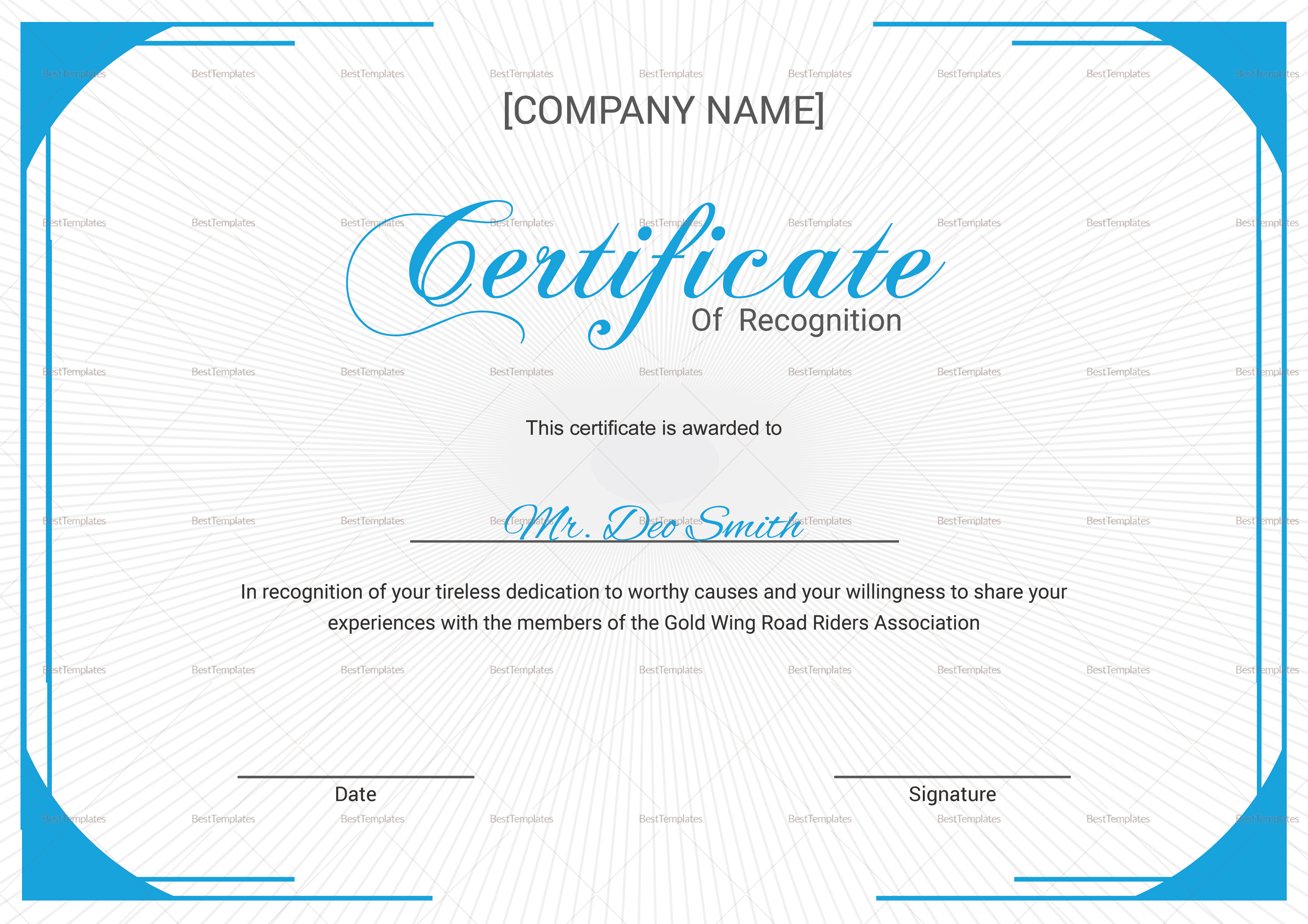Youth Recognition Certificate Design Template