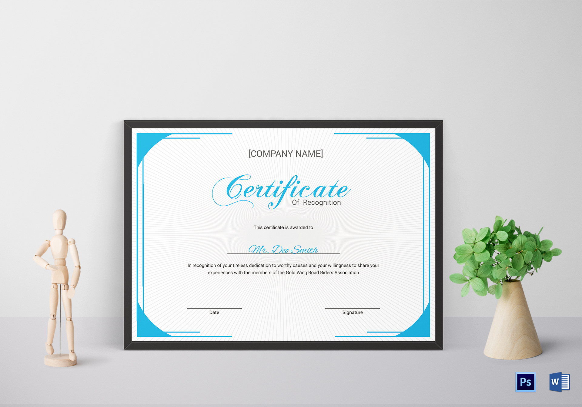 Youth recognition certificate design template in psd word youth recognition certificate template yadclub Choice Image