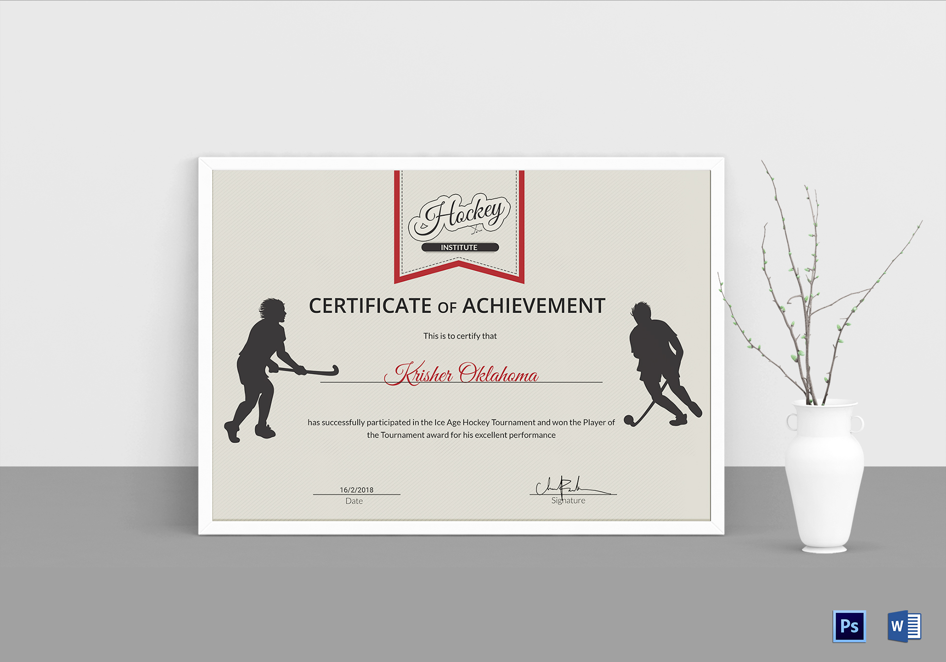 Ice Hockey Achievement Certificate