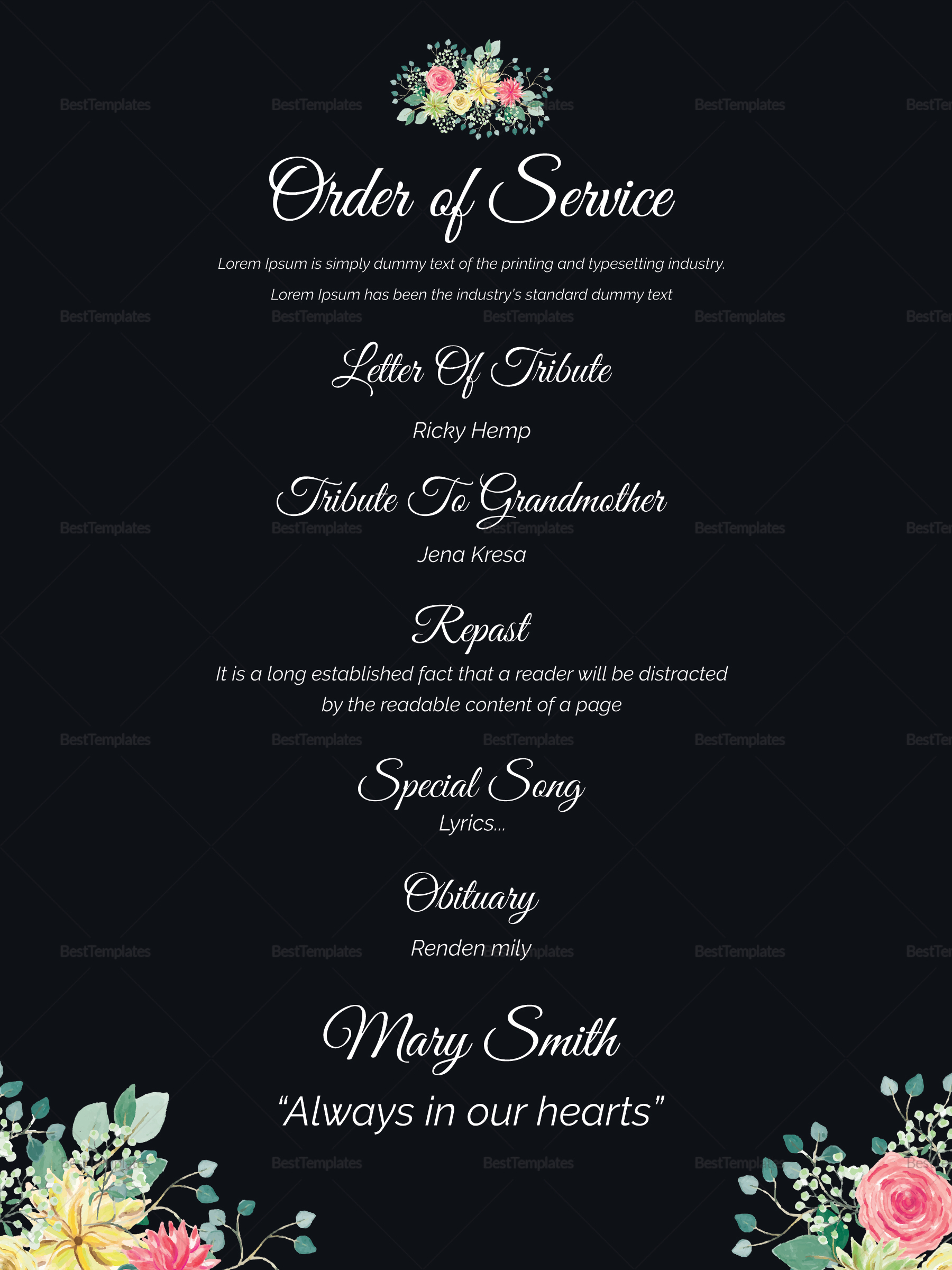 eulogy funeral invitation card design template in word