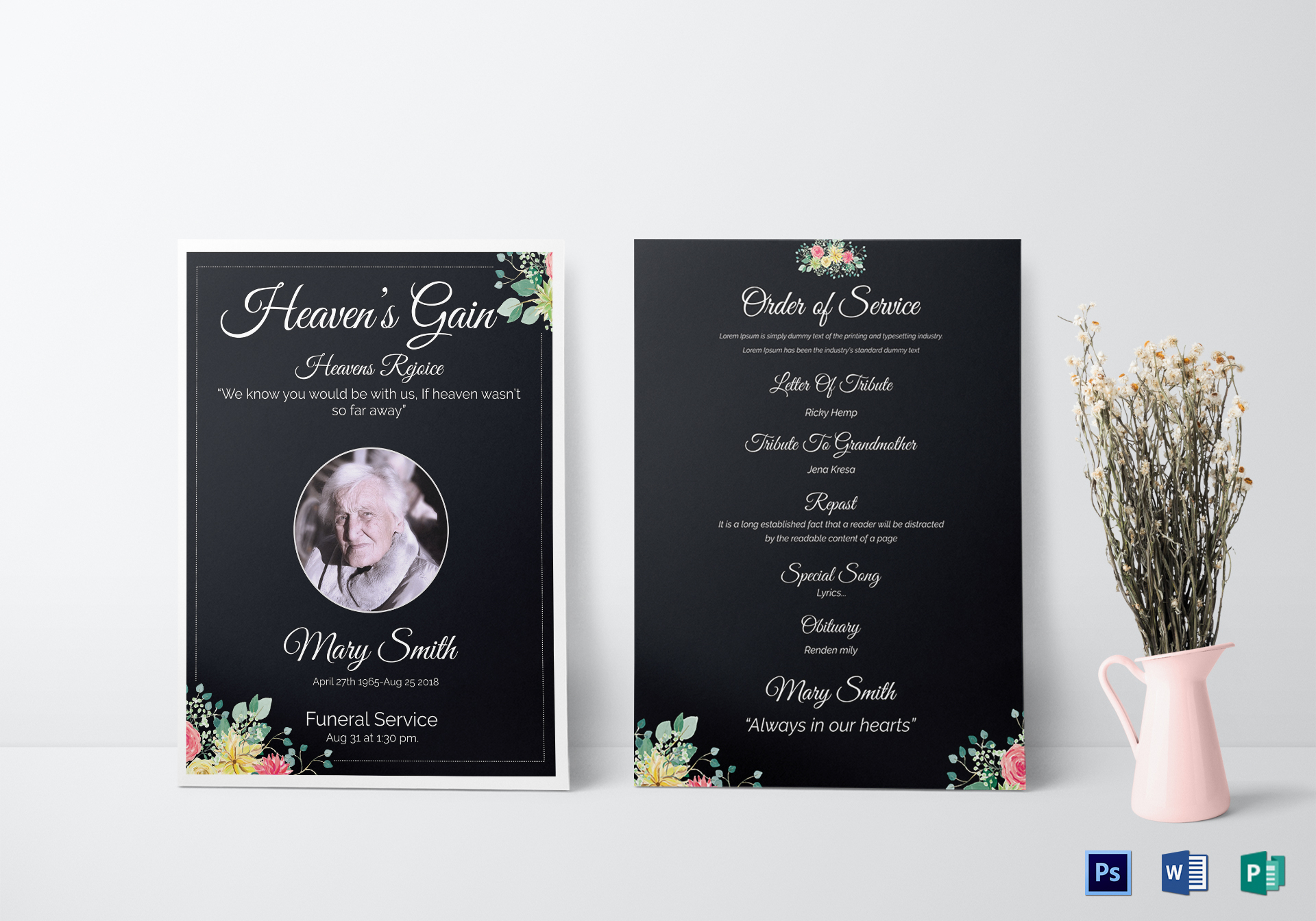 Eulogy funeral invitation card design template in word psd publisher eulogy funeral invitation card stopboris Choice Image
