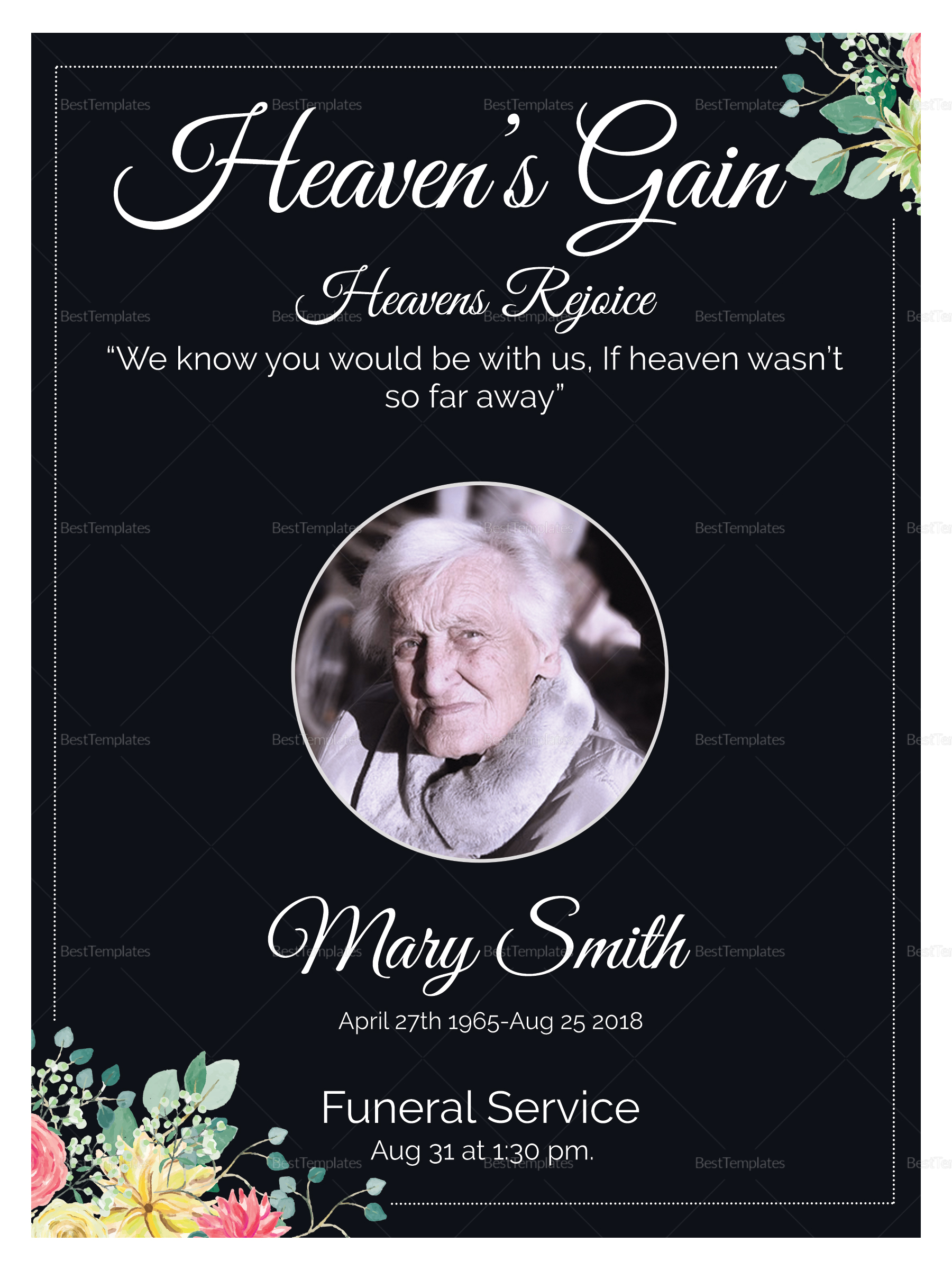 Eulogy Funeral Invitation Card Design
