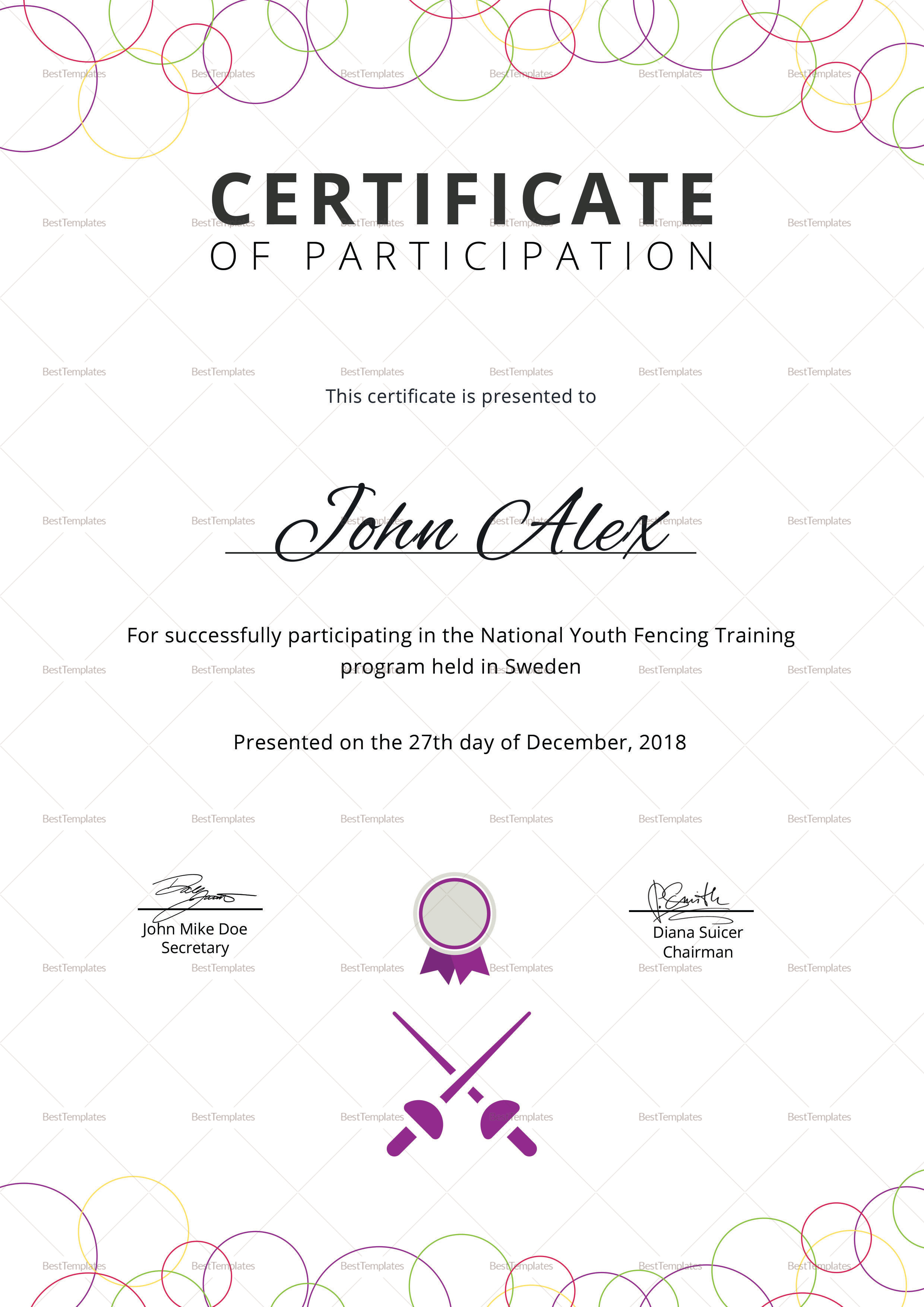 National Fencing Training Certificate Template