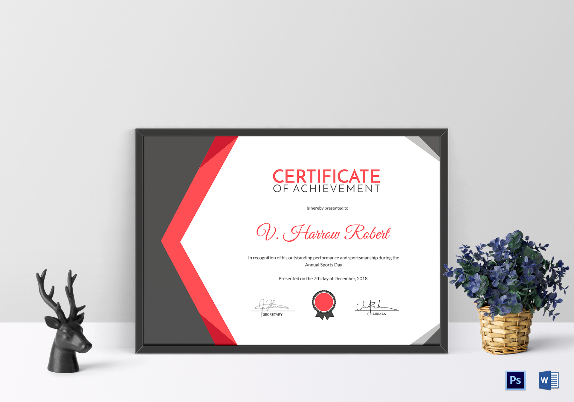 Sports Day Achievement Certificate Design Template In Psd Word