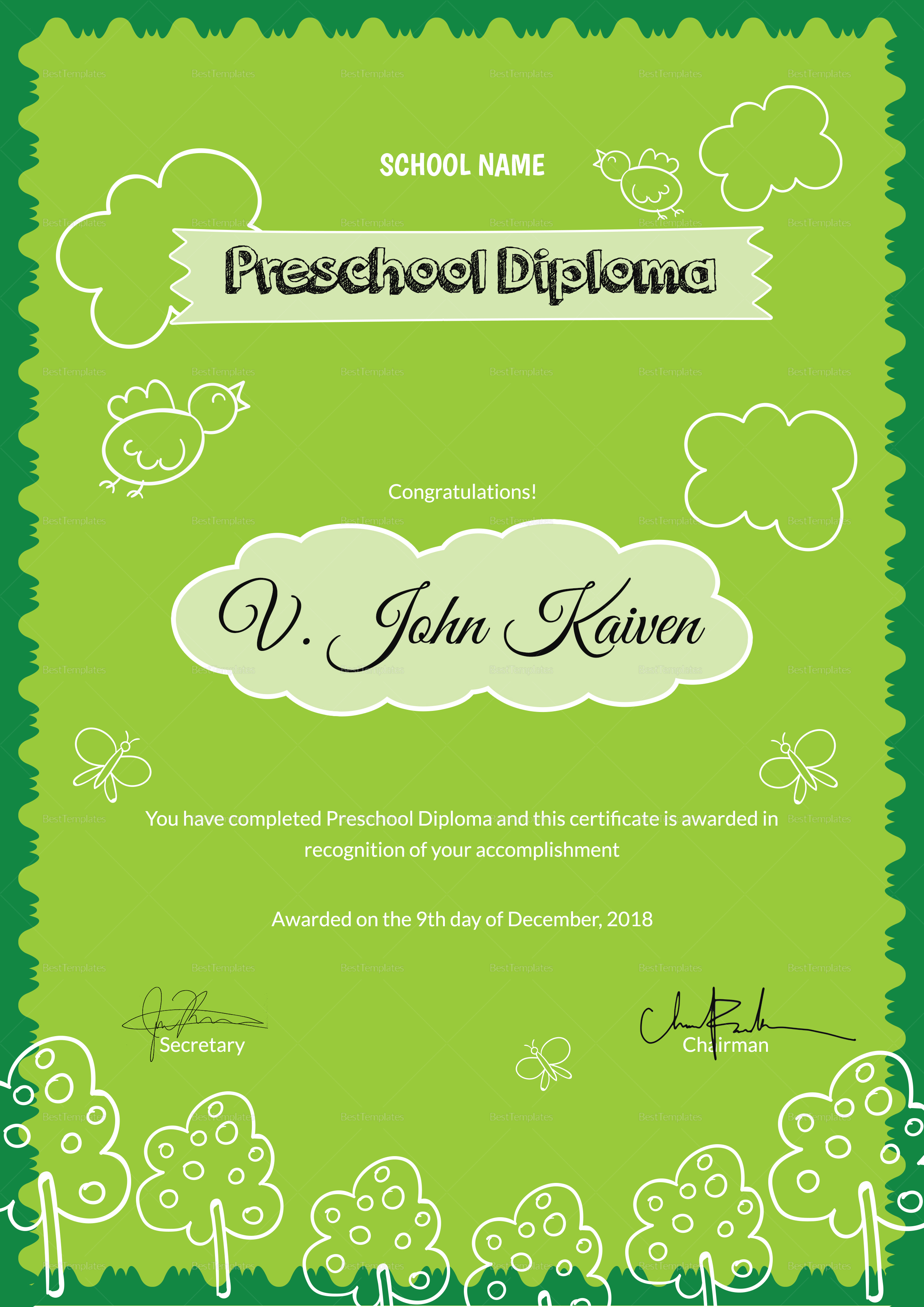 Preschool Award Certificate Design Template