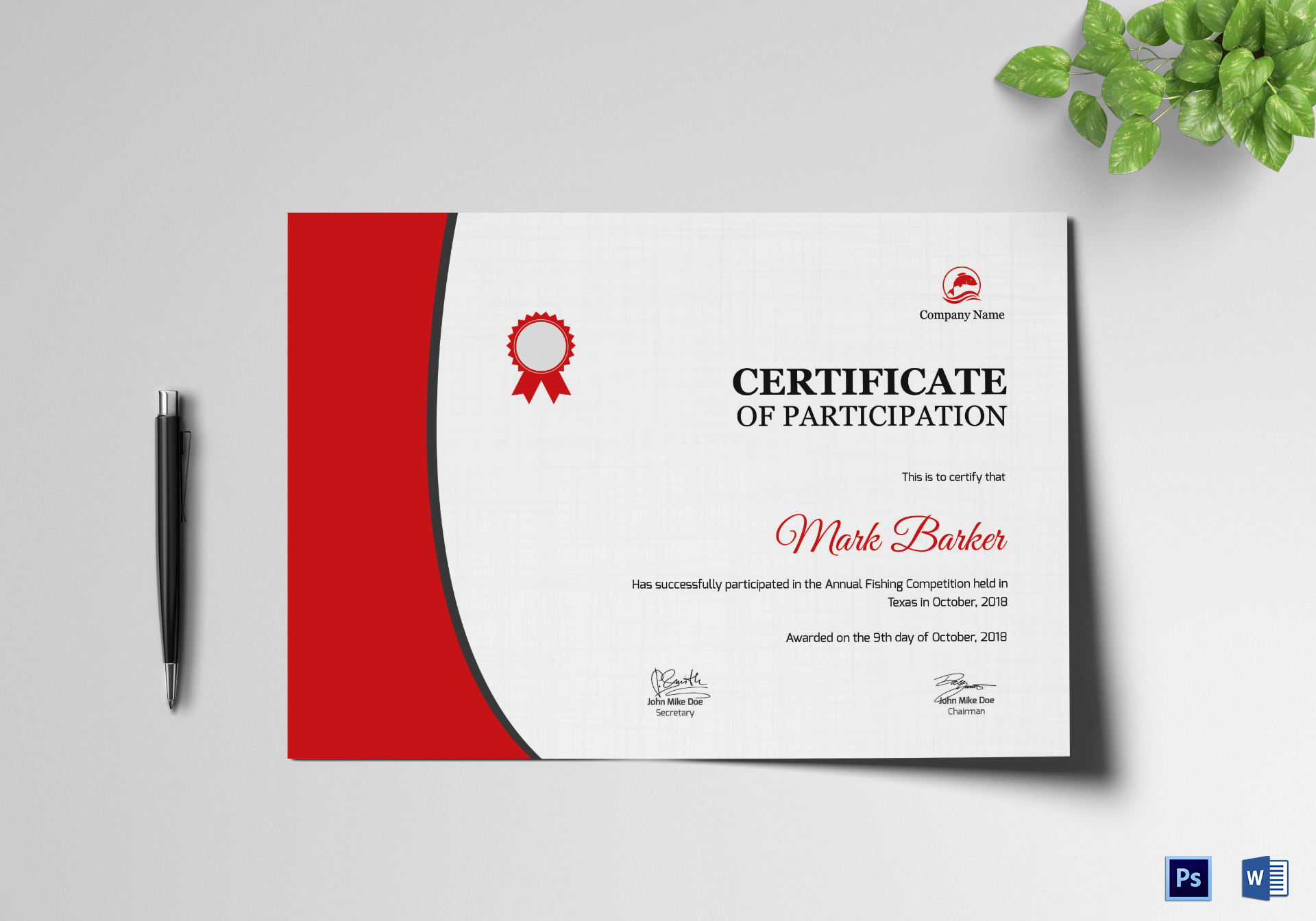 Annual Fishing Participation Certificate Design Template ...