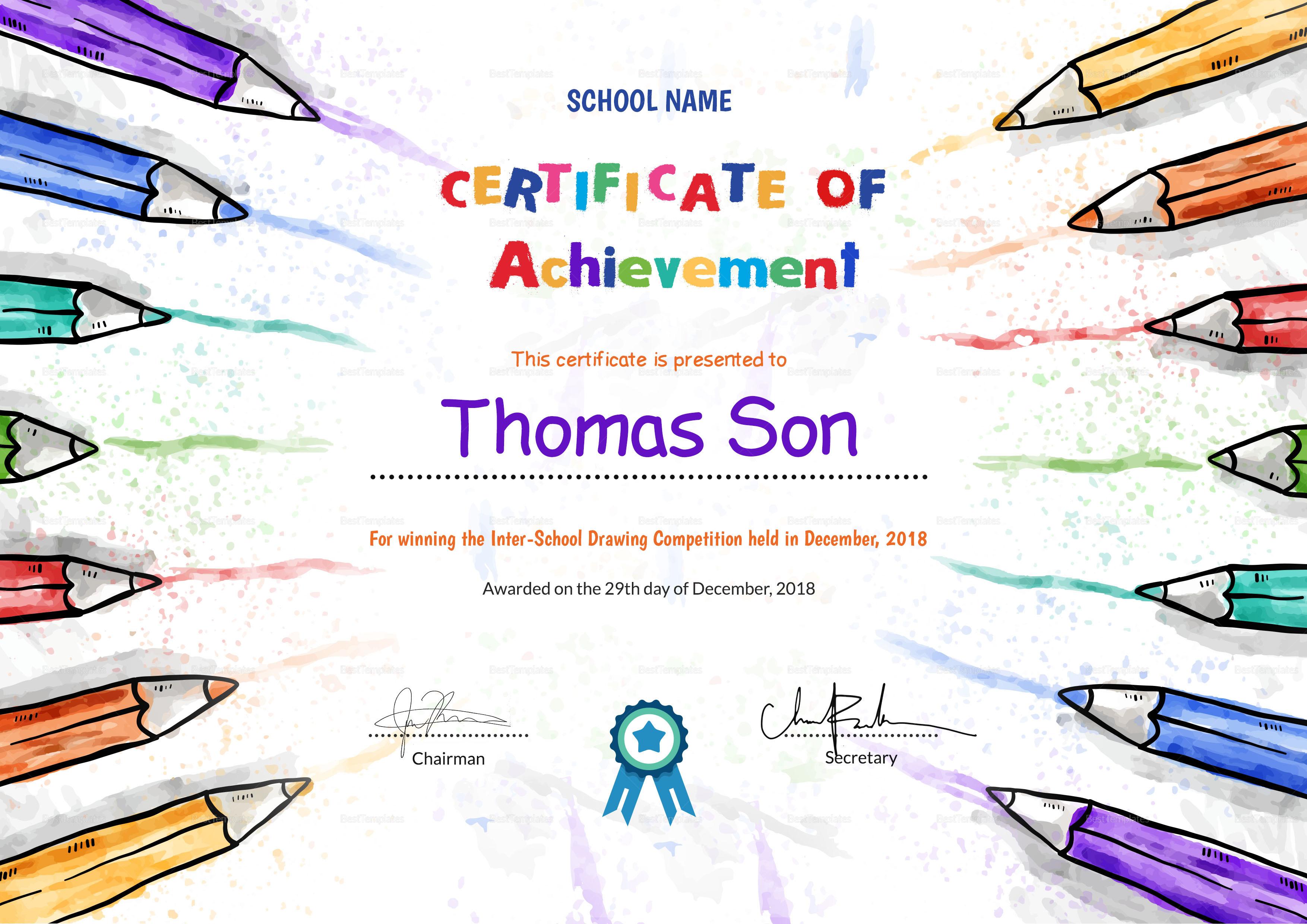 Preschool achievement certificate design template in psd word preschool achievement certificate template preschool achievement certificate design template yadclub Images