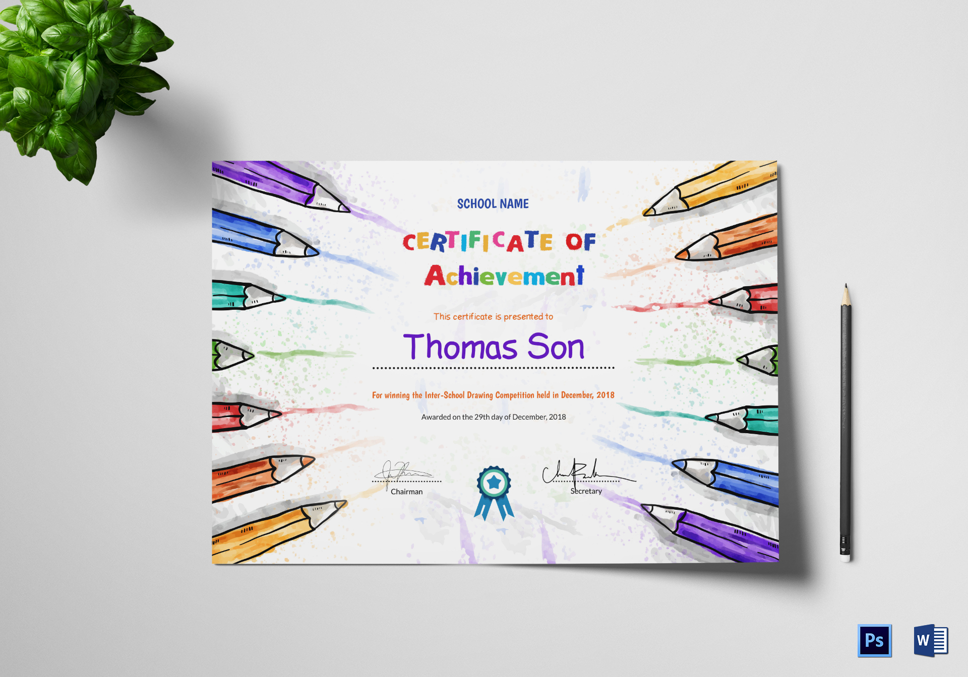 Preschool Achievement Certificate Design Template In Psd Word