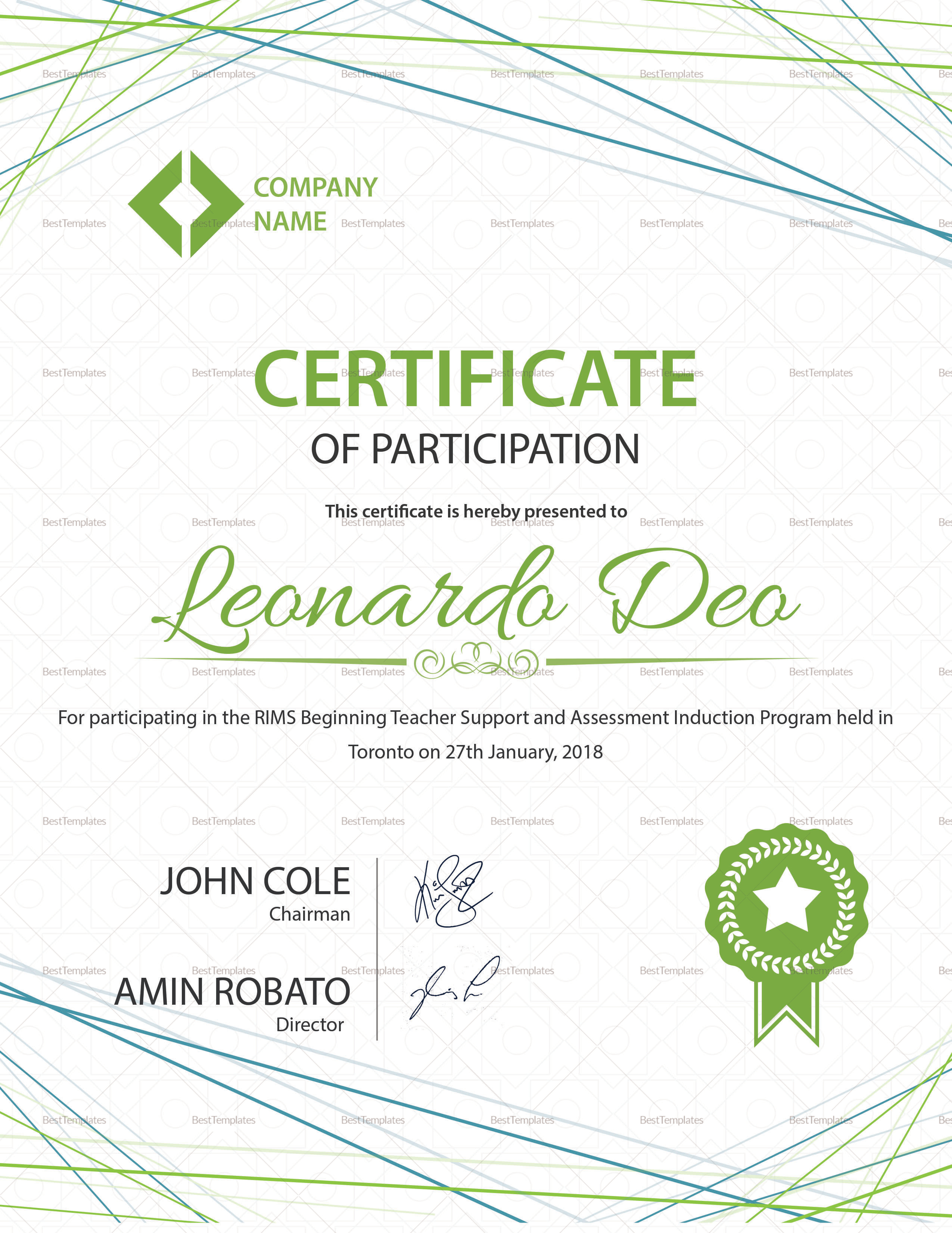certificate of participation template sample participation certificate design template in psd word 20801