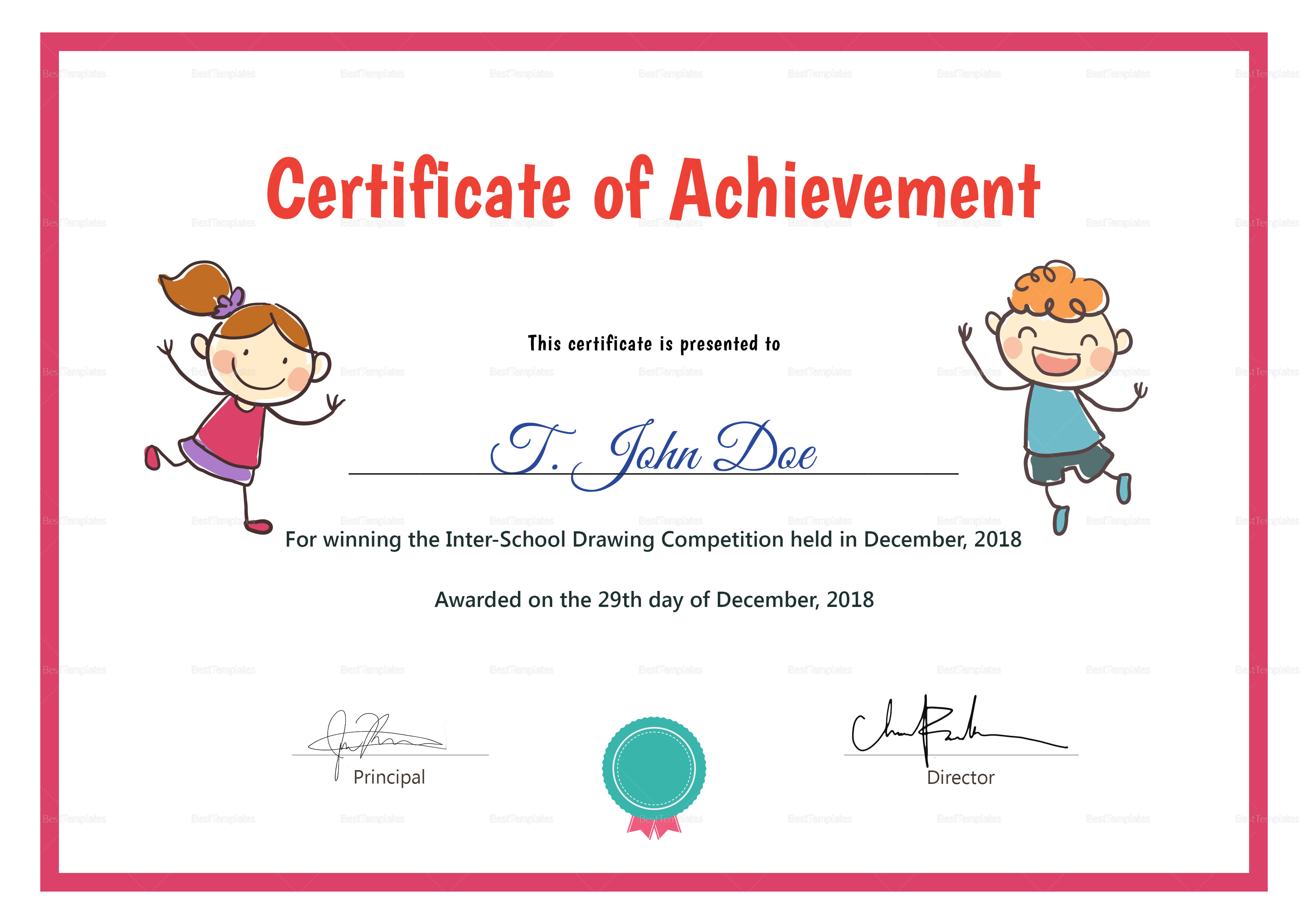 Preschool Certificate Design Template In Psd Word