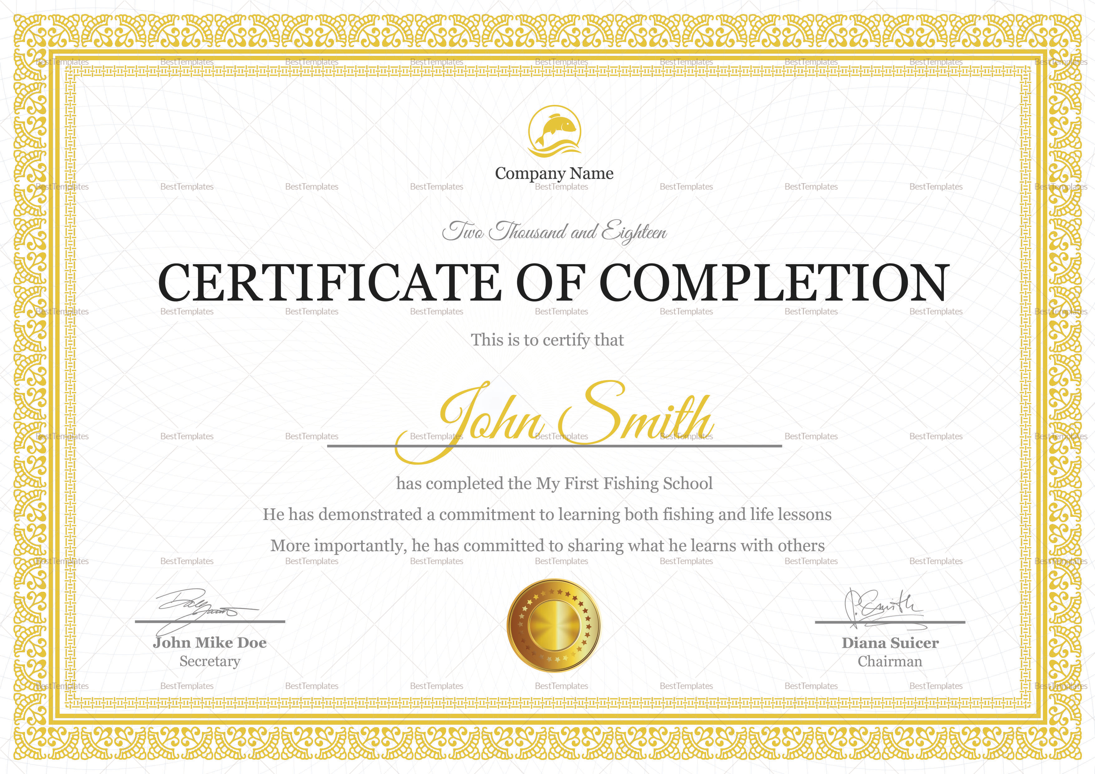 Fishing Completion Certificate Template