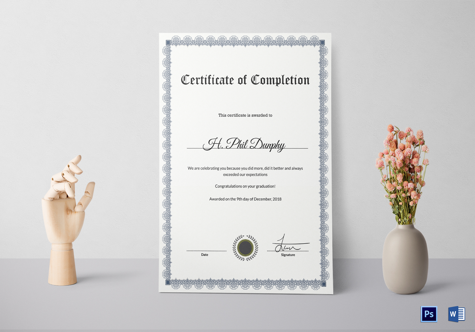 Formal Graduation Completion Certificate Template