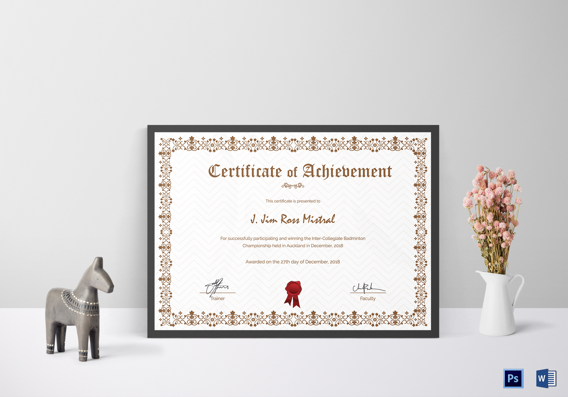 Badminton Participation Achievement Certificate Design Template in ...