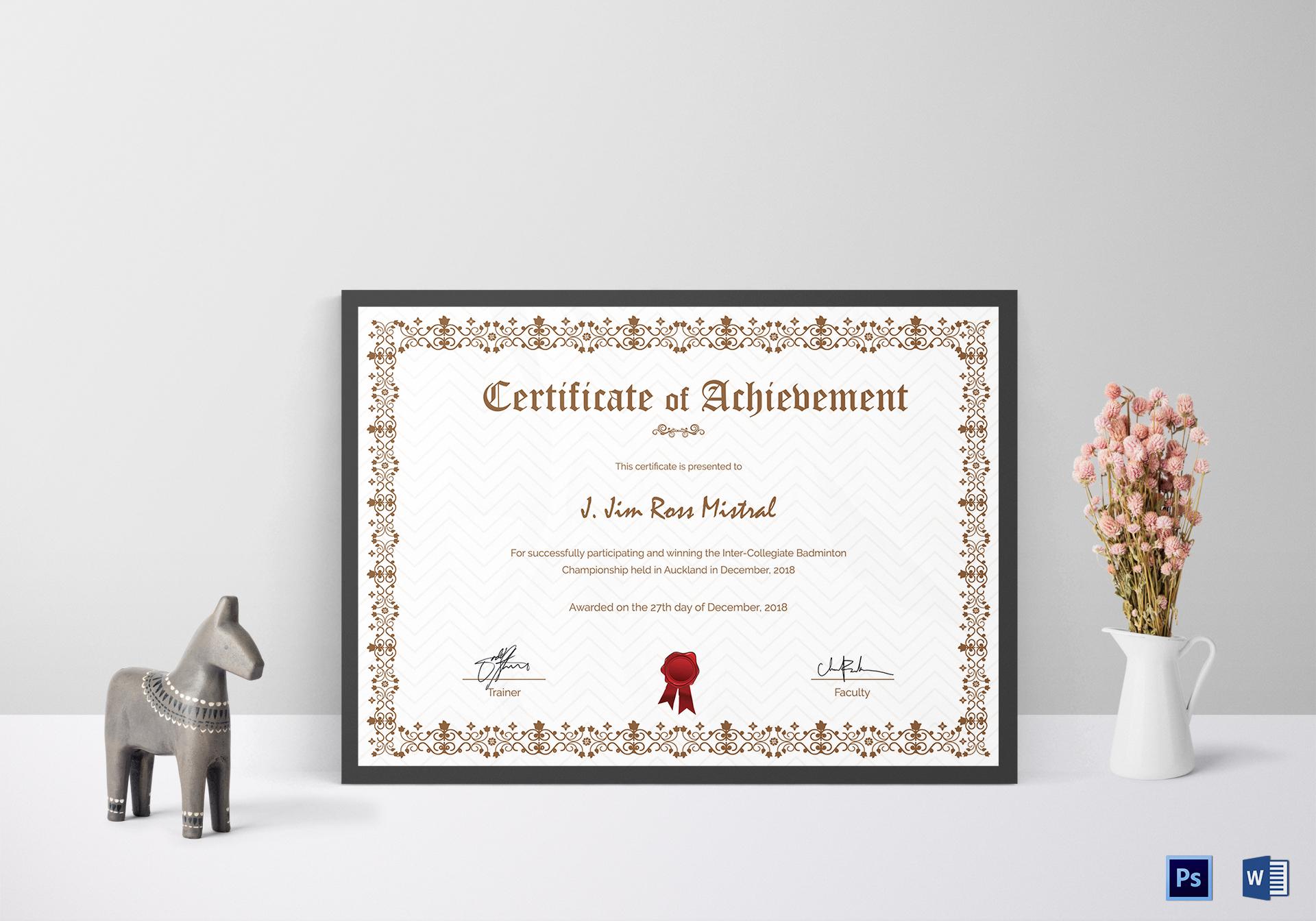 Badminton Participation Achievement Certificate