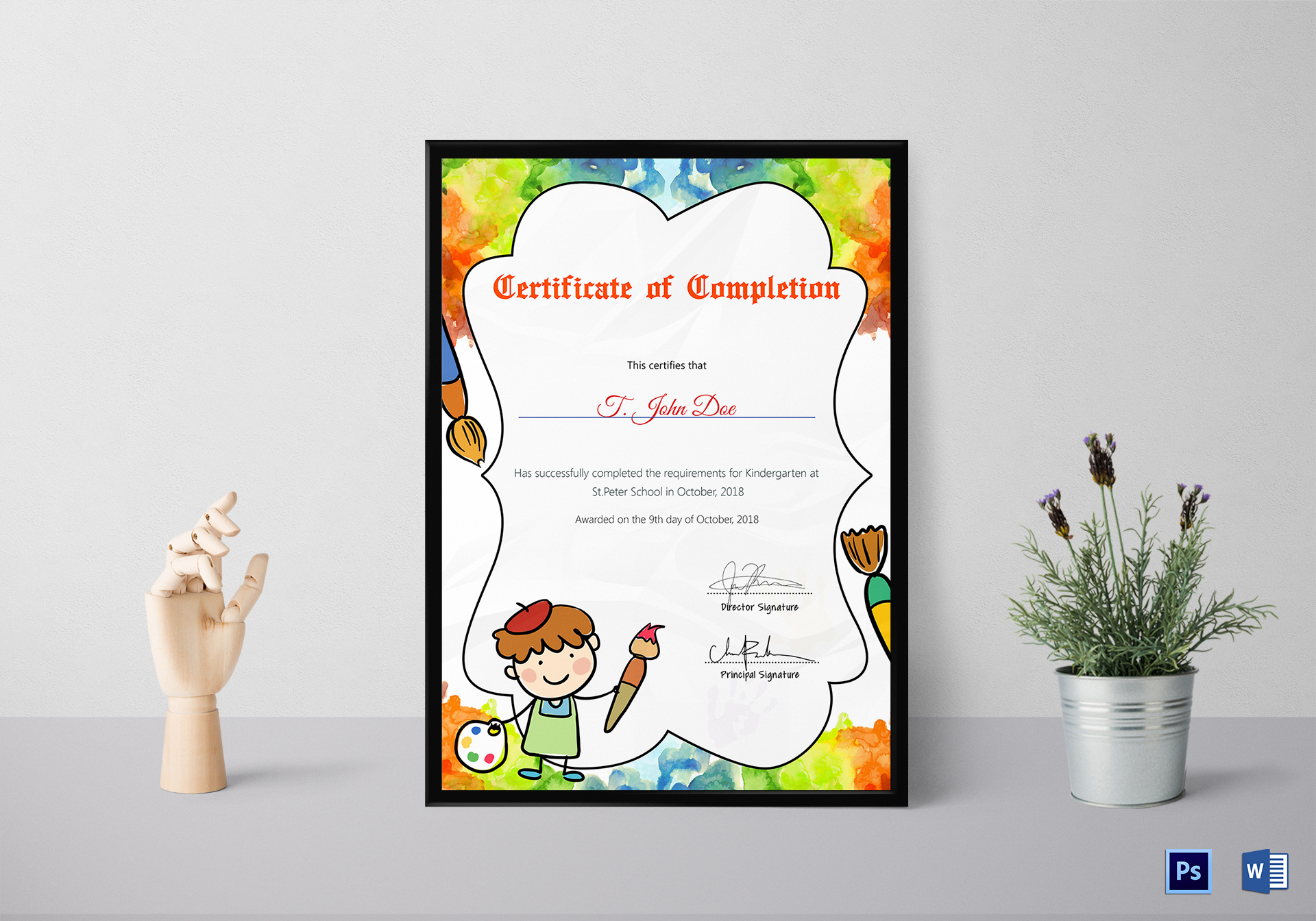 Preschool diploma completion certificate design template in psd word preschool diploma completion certificate template yelopaper Image collections