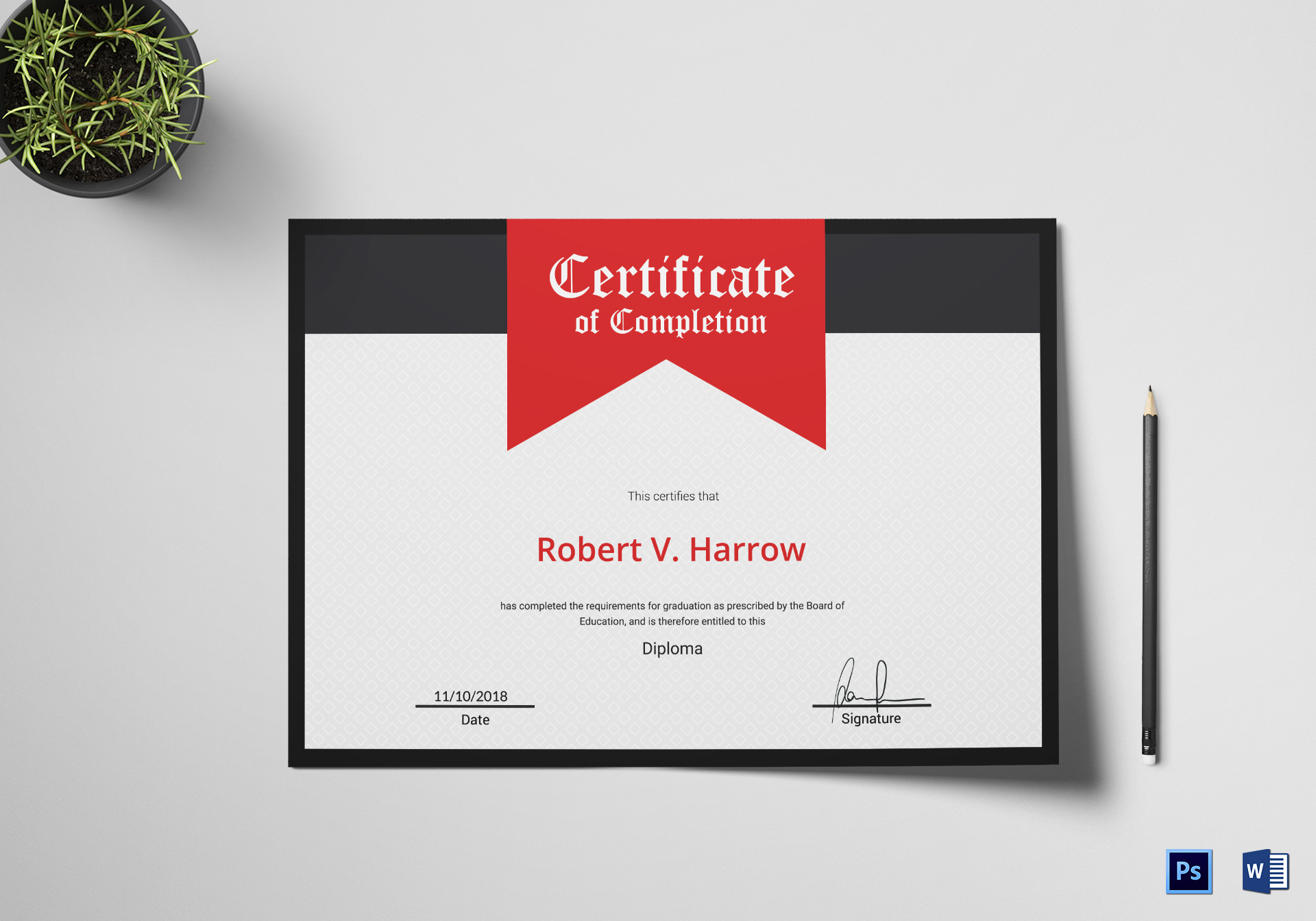 College Graduation Completion Certificate Template