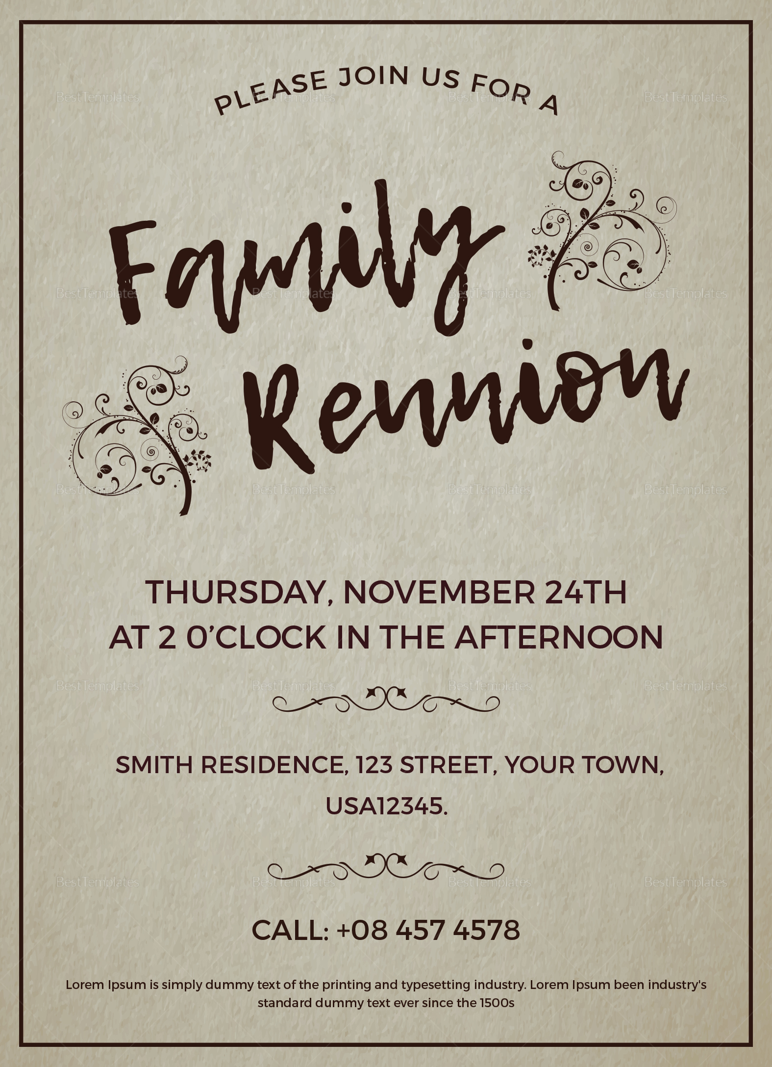 family reunion invitation design template in word psd publisher