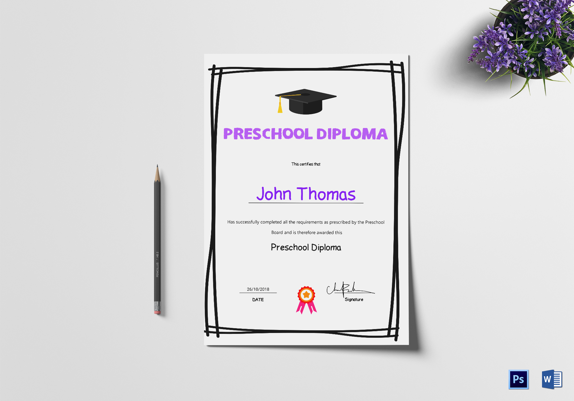Elegant preschool diploma certificate design template in psd word elegant preschool diploma certificate template yadclub Images