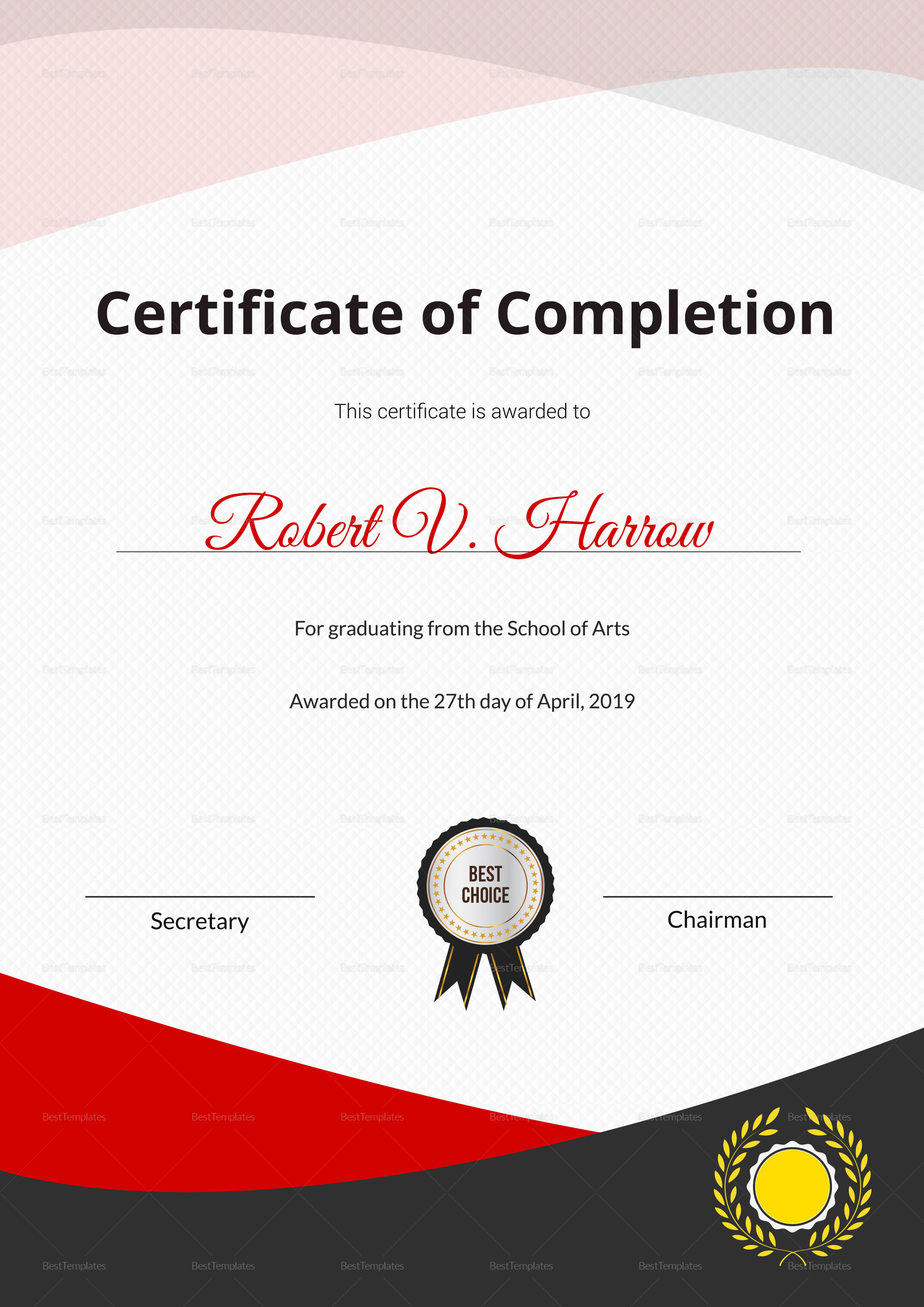 School of arts graduation certificate design template in psd word school of arts graduation certificate template yelopaper Image collections