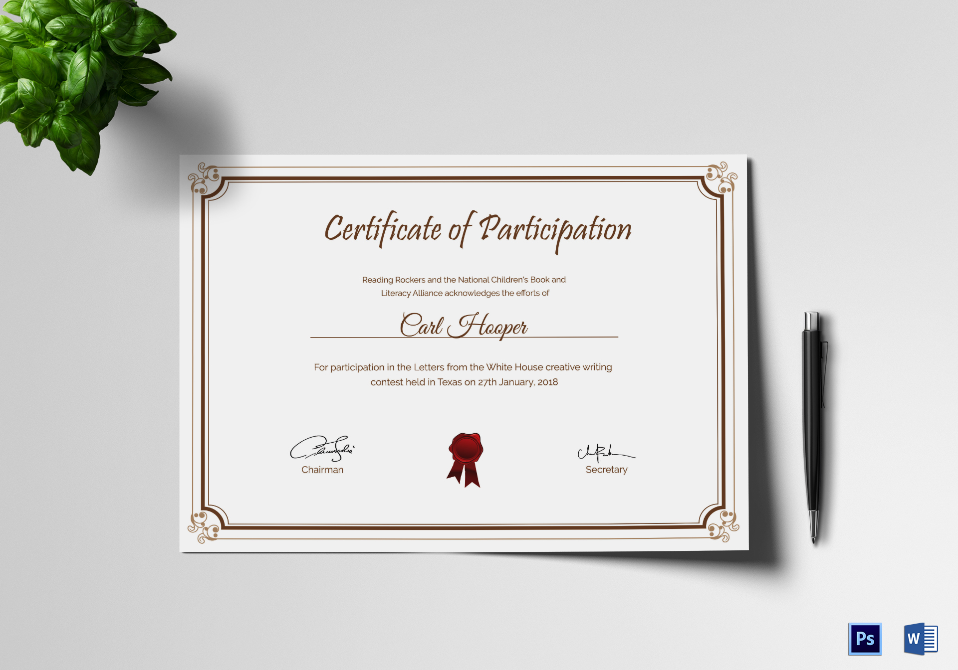 Writing contest participation certificate design template in psd word writing contest participation certificate writing contest participation certificate template yadclub Images