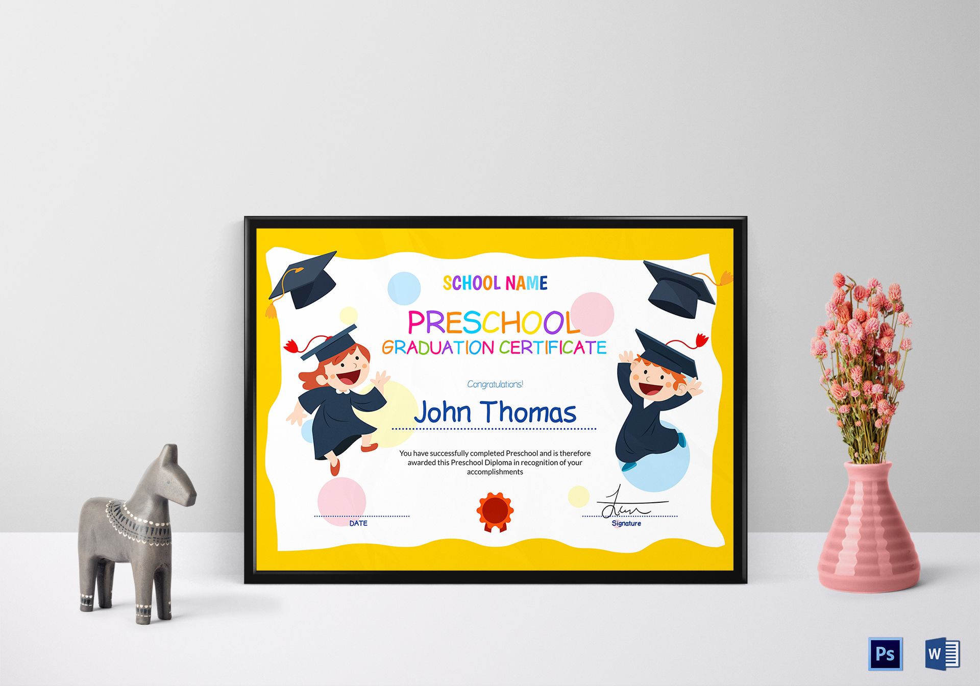 Graduation Certificate | Preschool Graduation Certificate Design Template In Psd Word
