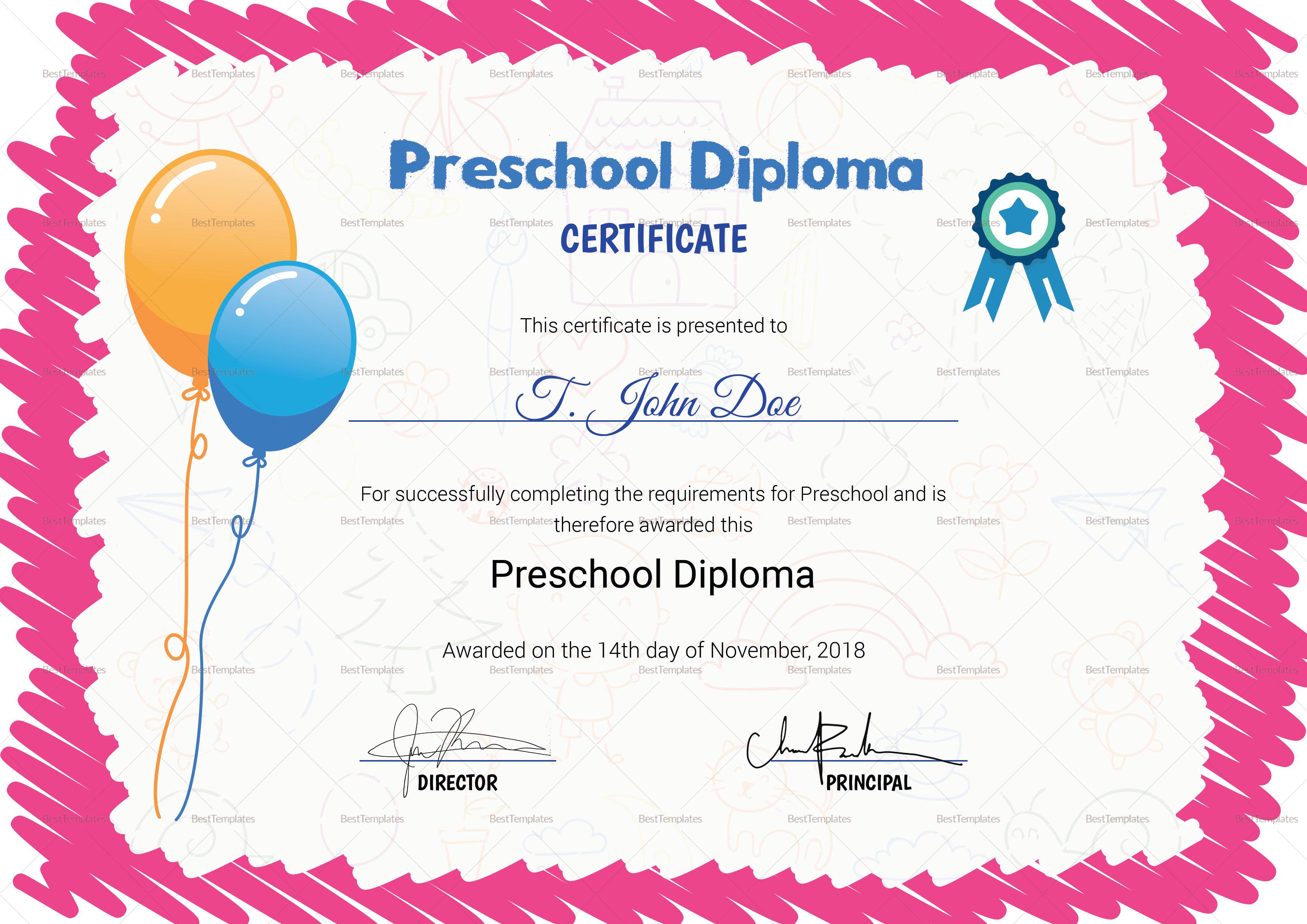 Pink Preschool Completion Certificate Design Template In Psd Word