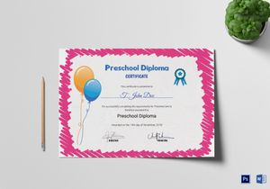School certificate designs templates in word psd pink preschool completion certificate template yadclub Image collections