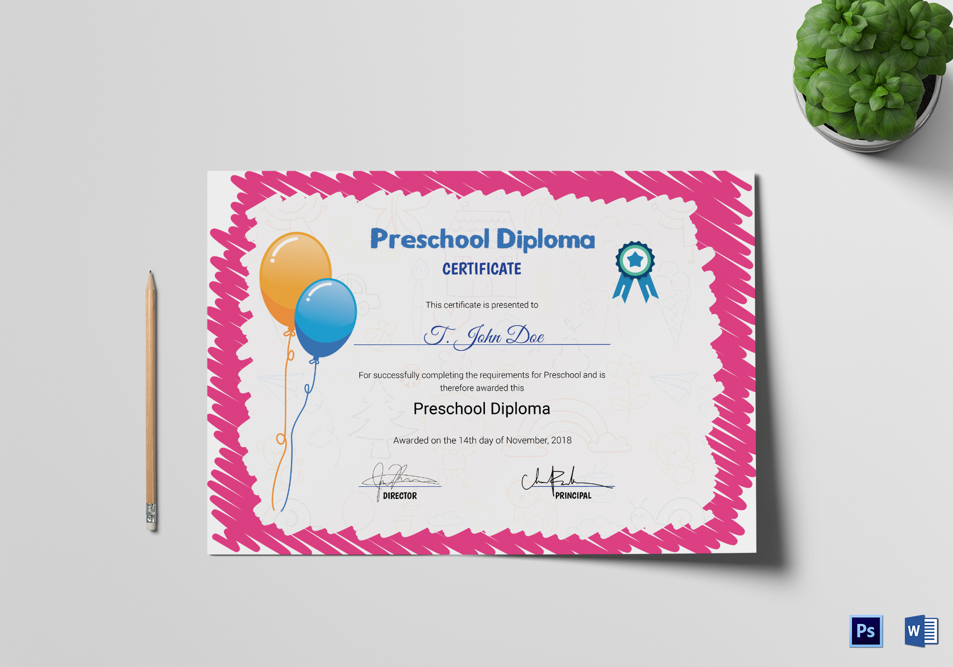 Pink preschool completion certificate design template in psd word sample preschool completion certificate template yadclub Image collections