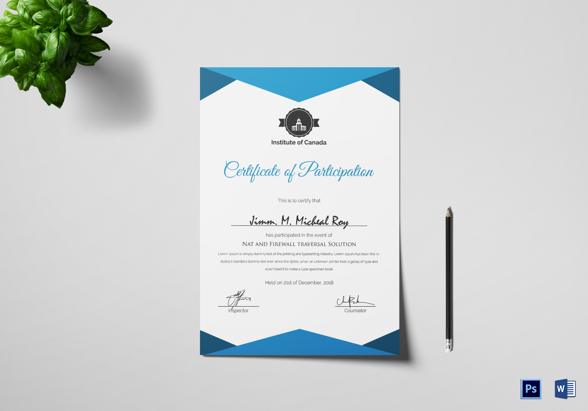 Sample Certificate of Participation