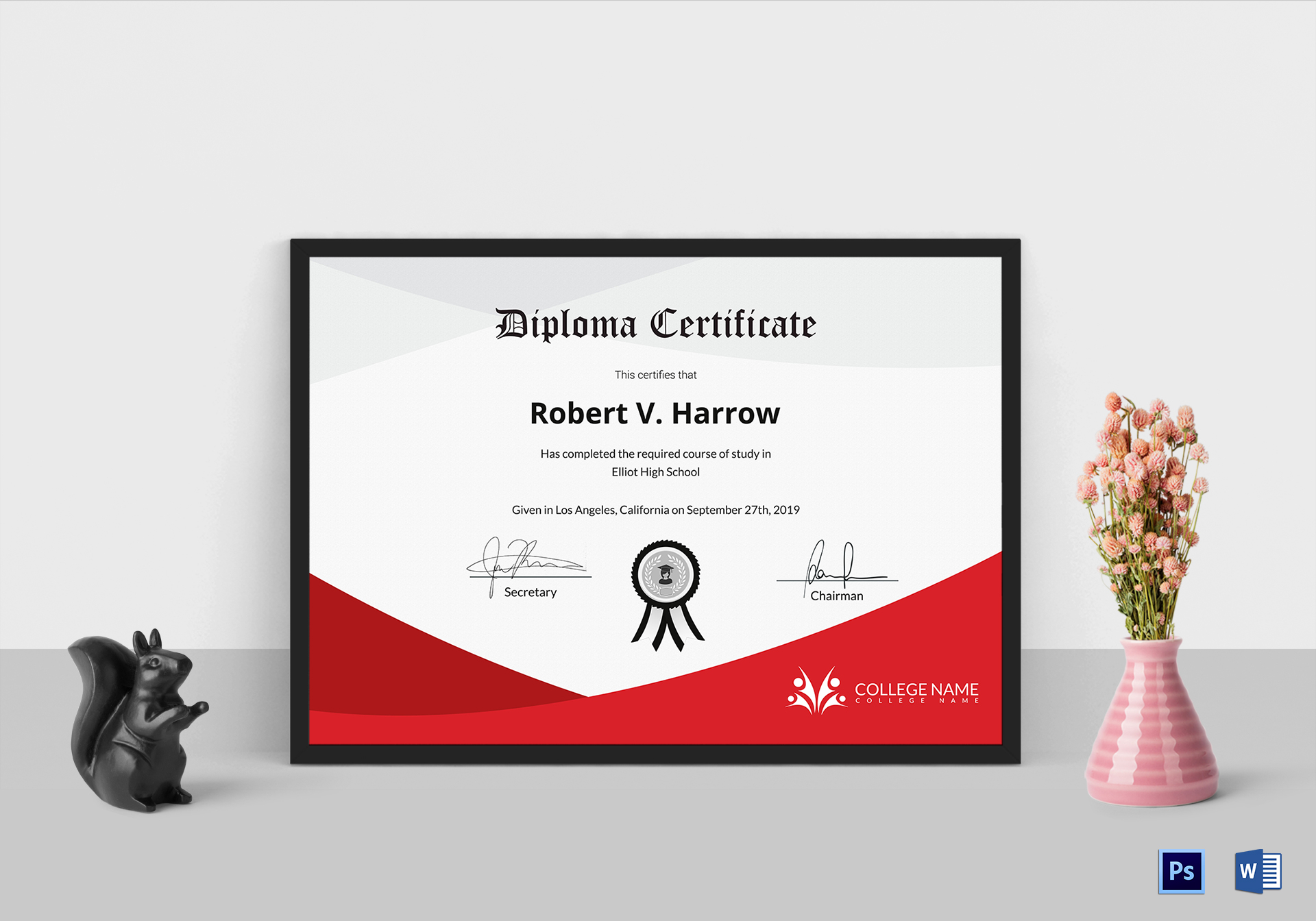 diploma certificate of completion design template in psd word