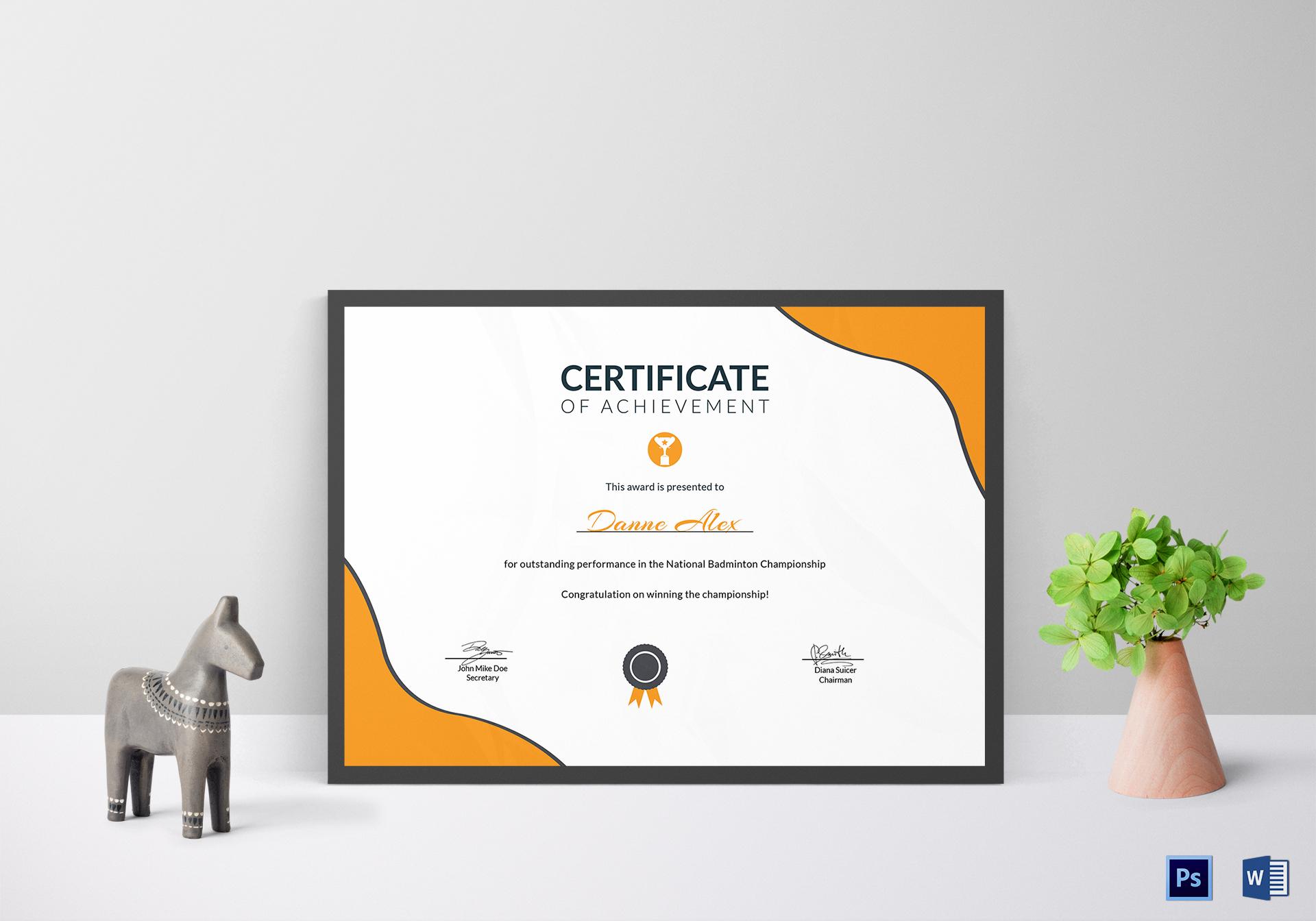 Prize Achievement Certificate Template