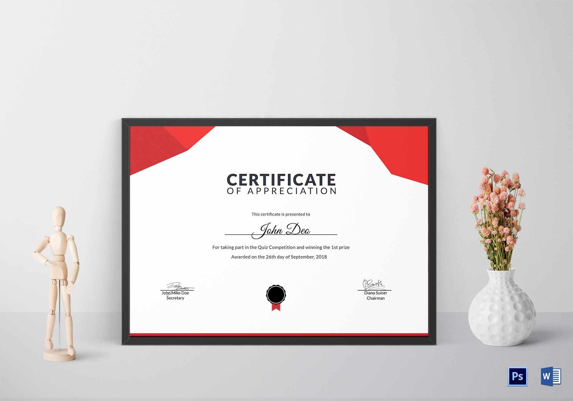 Prize Appreciation Certificate Template