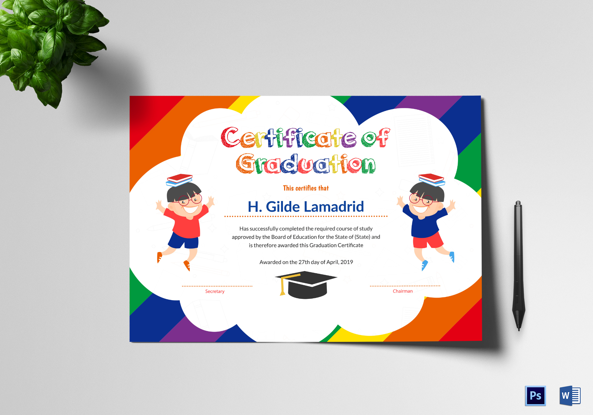 pre school graduation certificate design template in psd word. Black Bedroom Furniture Sets. Home Design Ideas