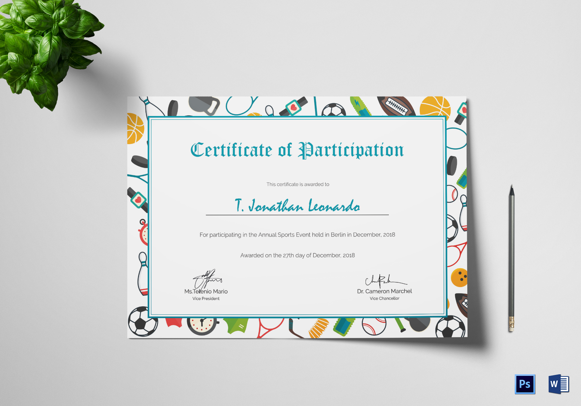 Sports Participation Certificate Design Template in PSD, Word