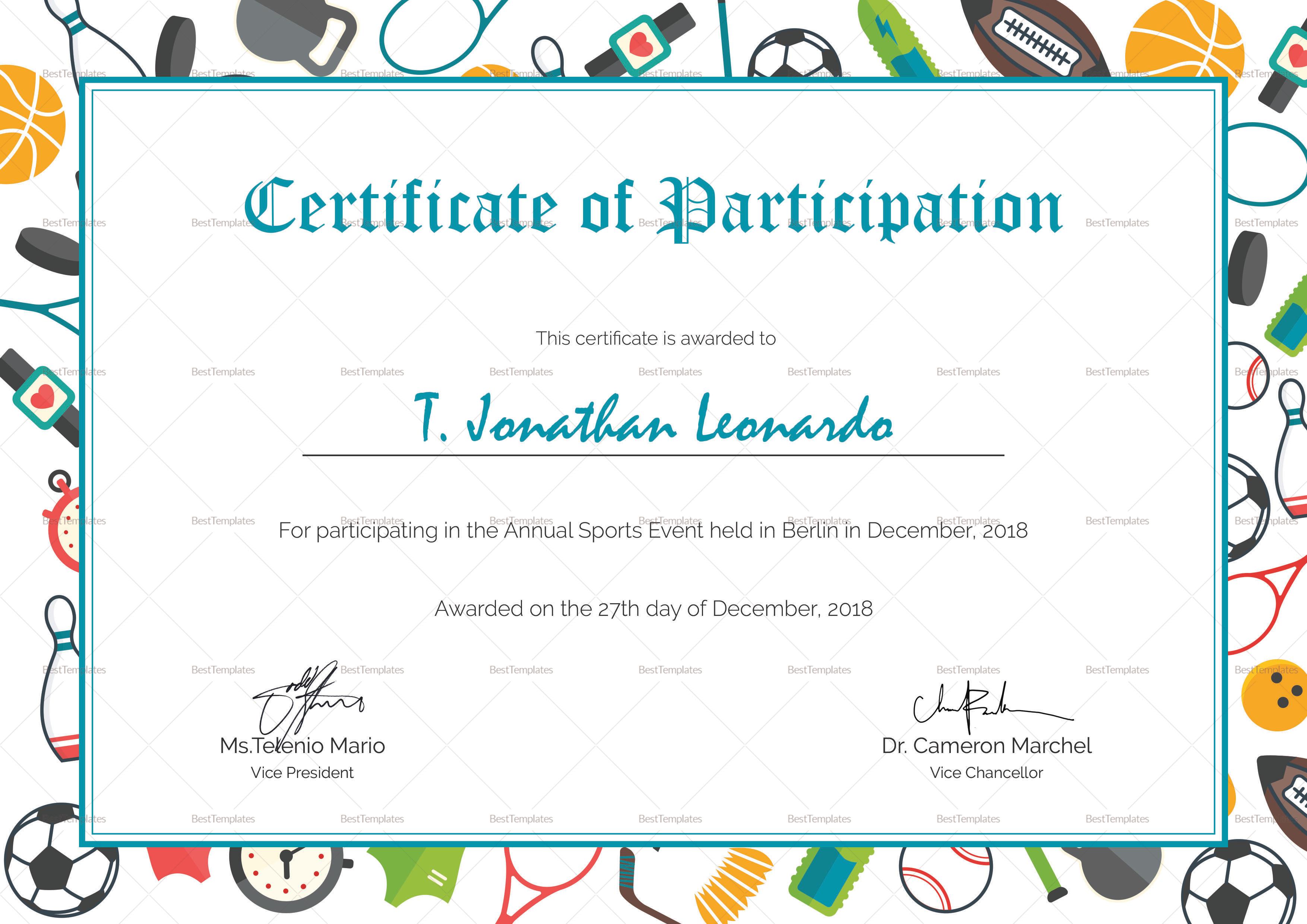 Sports Participation Certificate Template