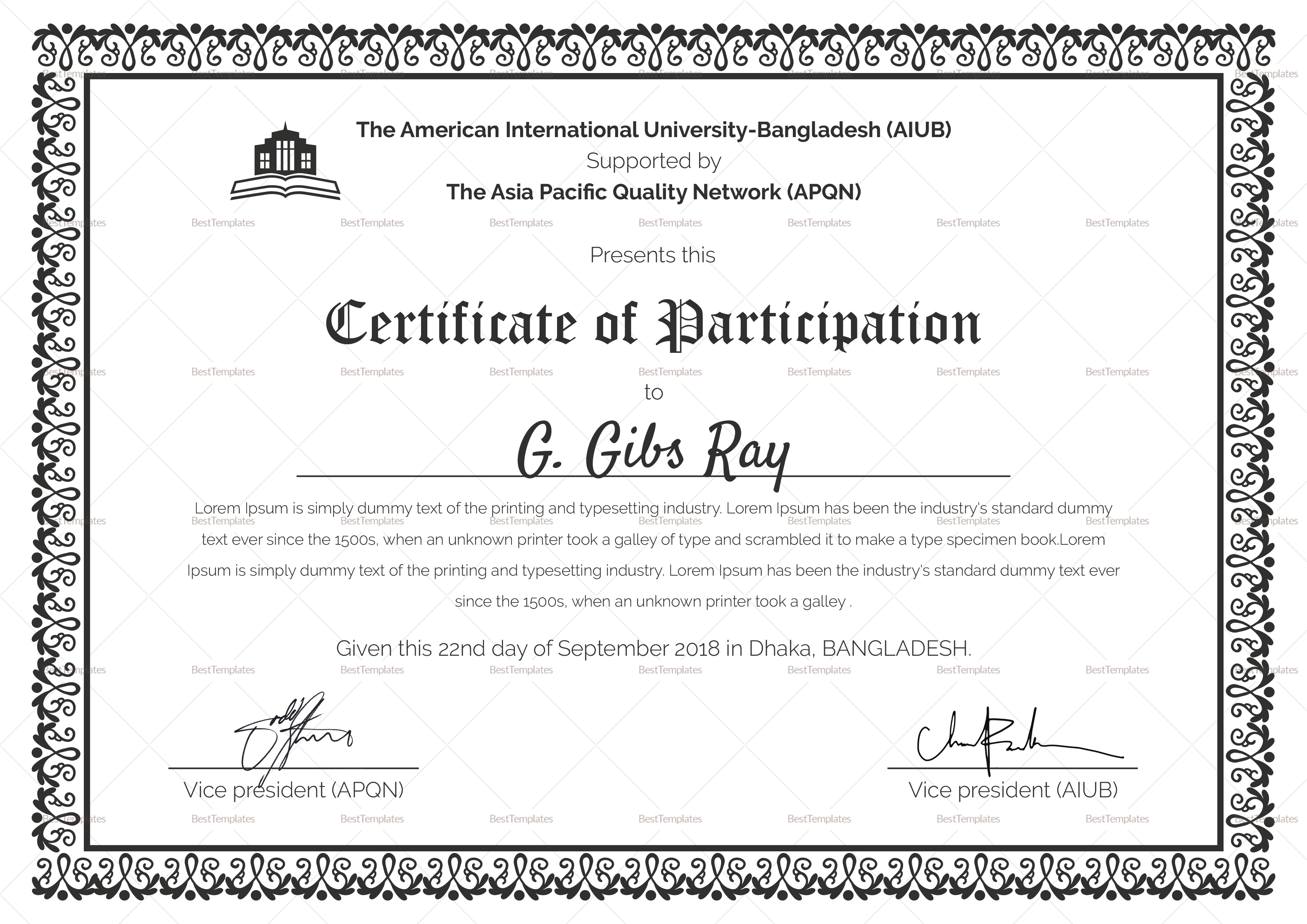 printable participation certificate design template in psd